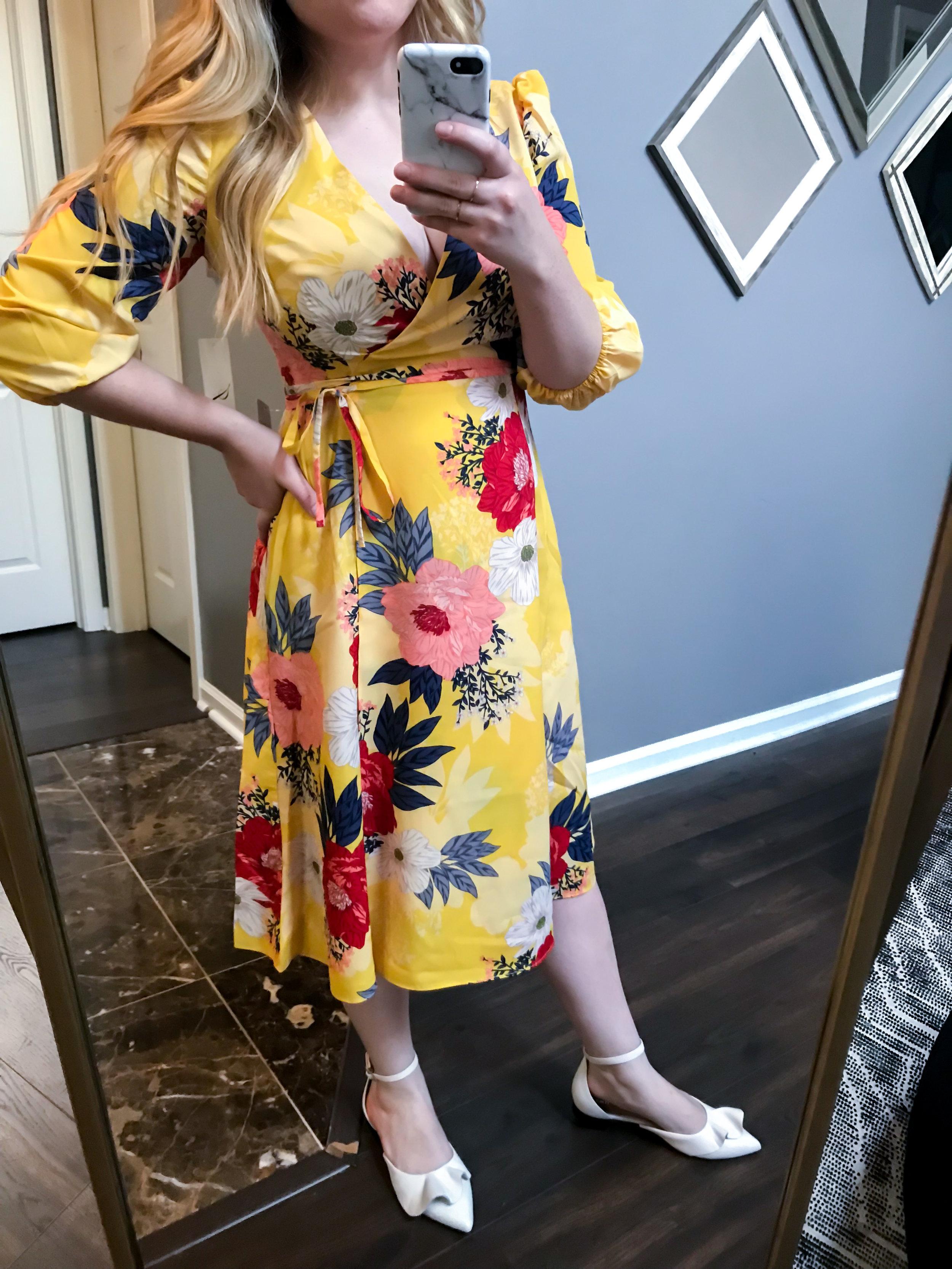 Maggie a la Mode Nordstrom Anniversary Sale 2018 Eliza J Faux Wrap Midi Dress, Lewit Alessia Flats