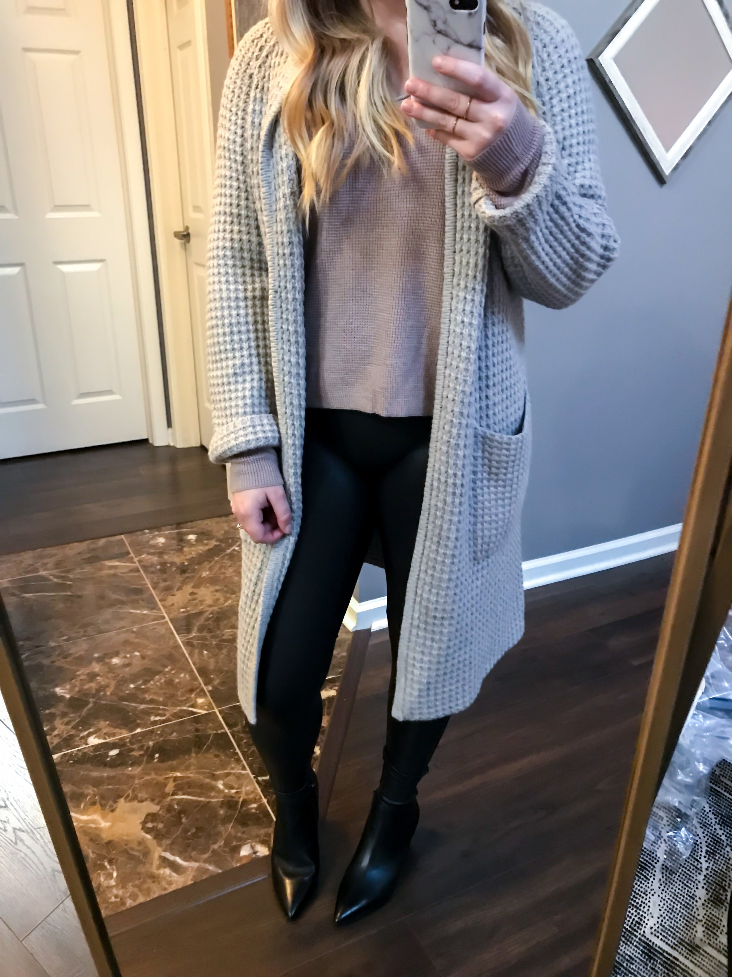 Maggie a la Mode Nordstrom Anniversary Sale 2018 Madewell Waffle Stitch Sweater Jacket, BP. Textured Stitch V-Neck Pullover, Spanx Faux-Leather Leggings, SARTO by Franco Sarto Lowe Booties