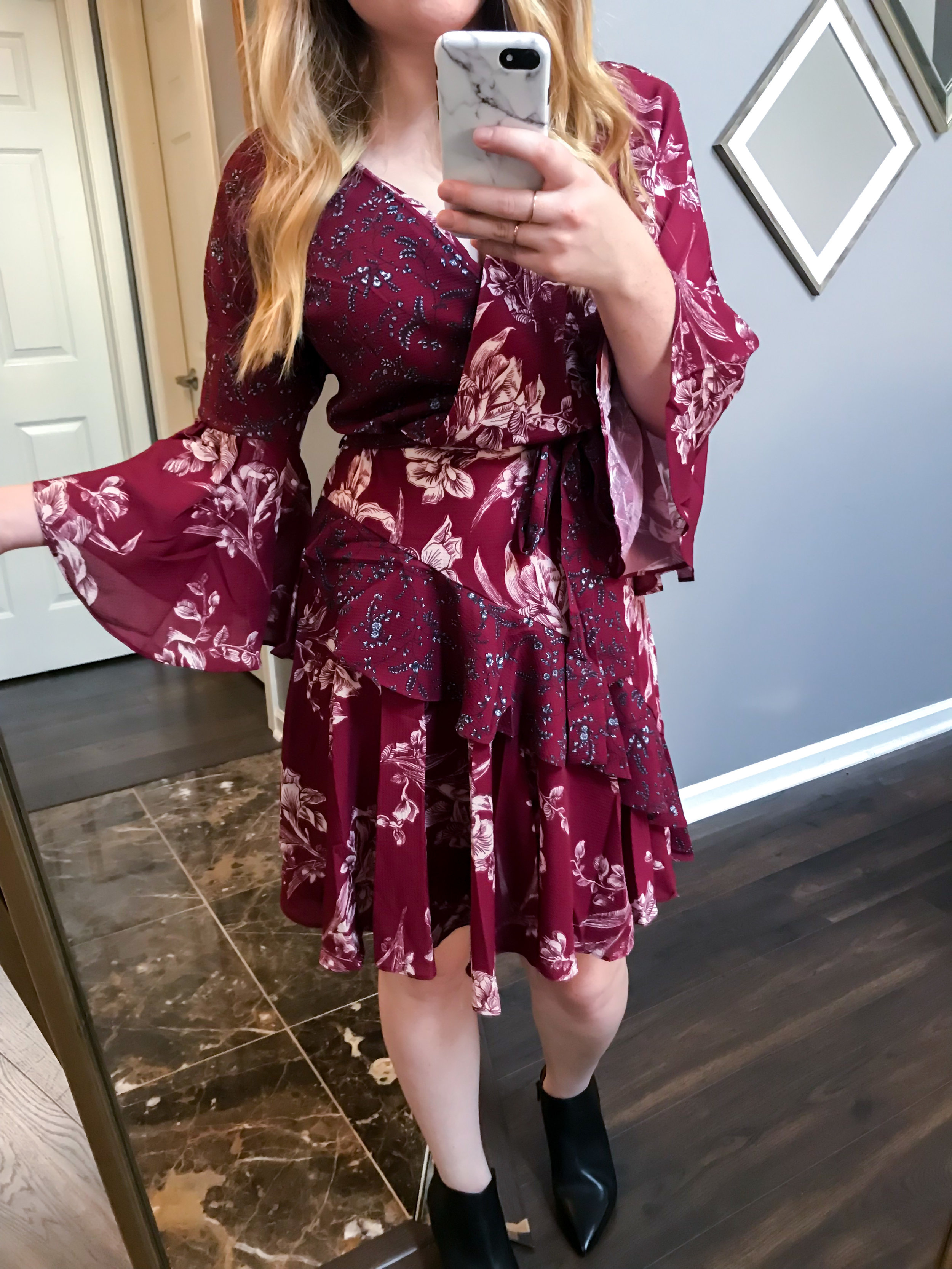 Maggie a la Mode Nordstrom Anniversary Sale 2018 French Connection Ellette Crepe Faux Wrap Dress, SARTO by Franco Sarto Lowe Booties