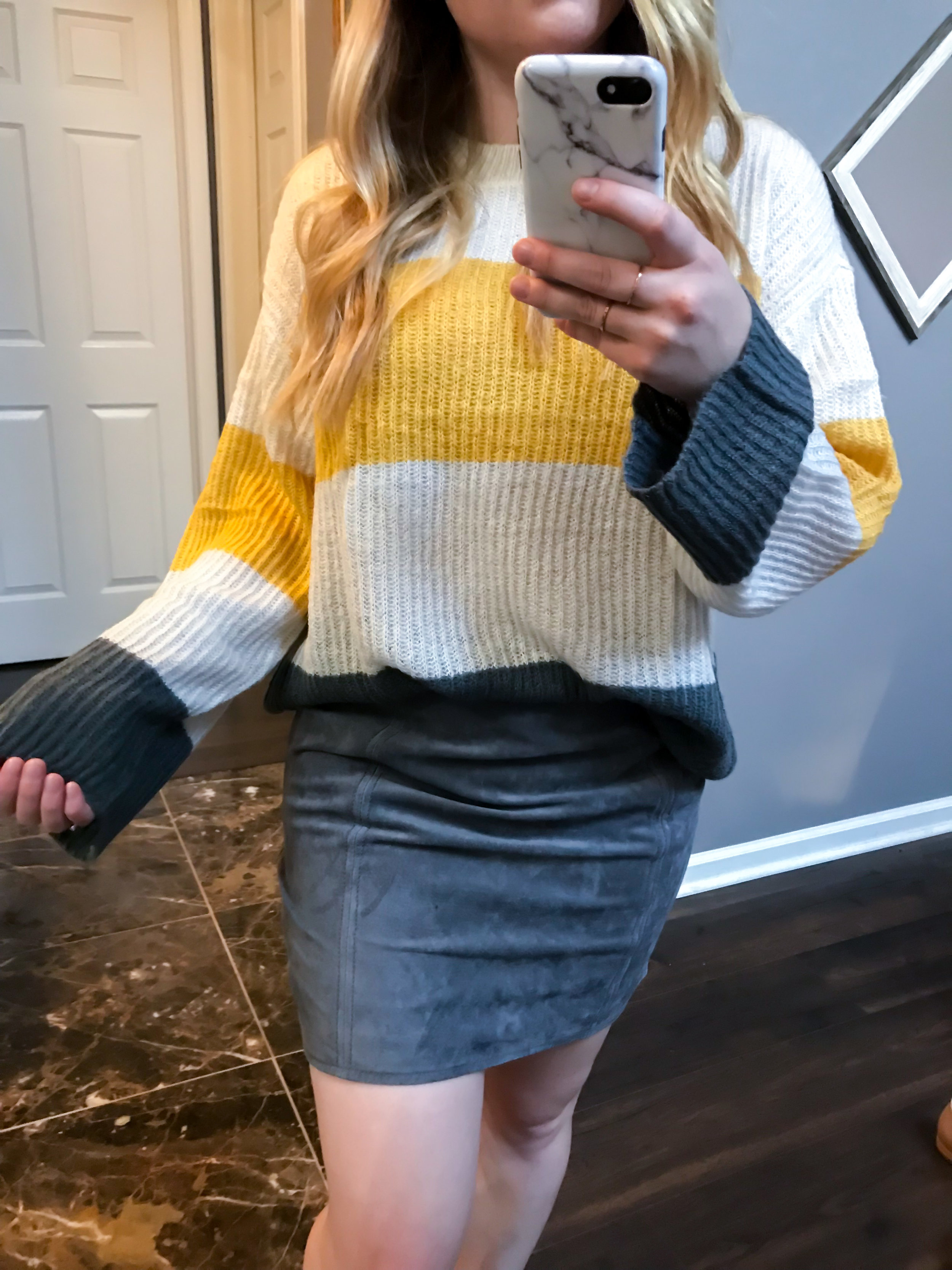 Maggie a la Mode Nordstrom Anniversary Sale 2018 BP. Stripe Pullover Sweater, BLANKNYC A-line Suede Skirt