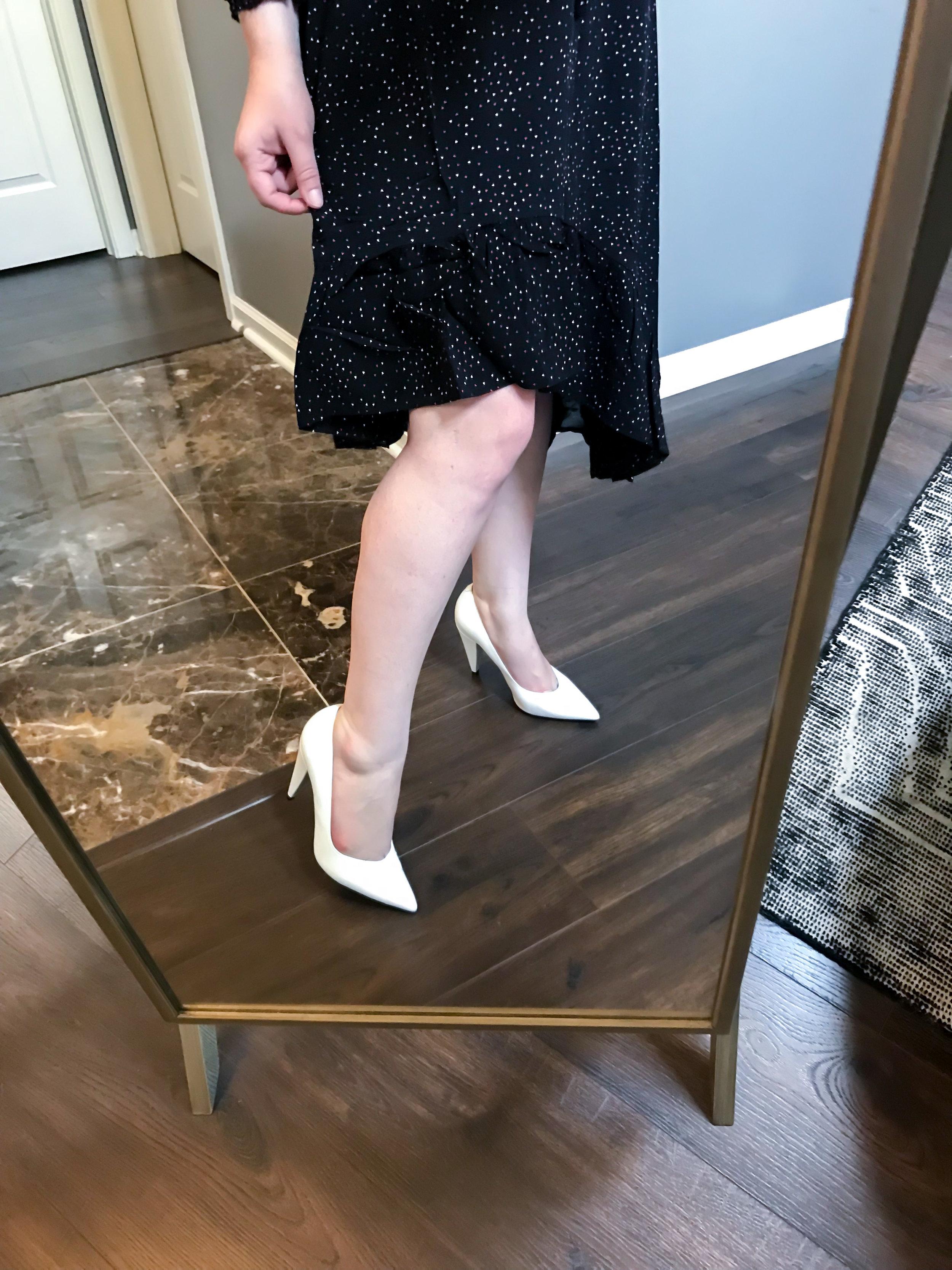 Maggie a la Mode Nordstrom Anniversary Sale 2018 Joie Asymmetrical Dotted Chiffon Dress, Marc Fisher LTD Hesla Pumps