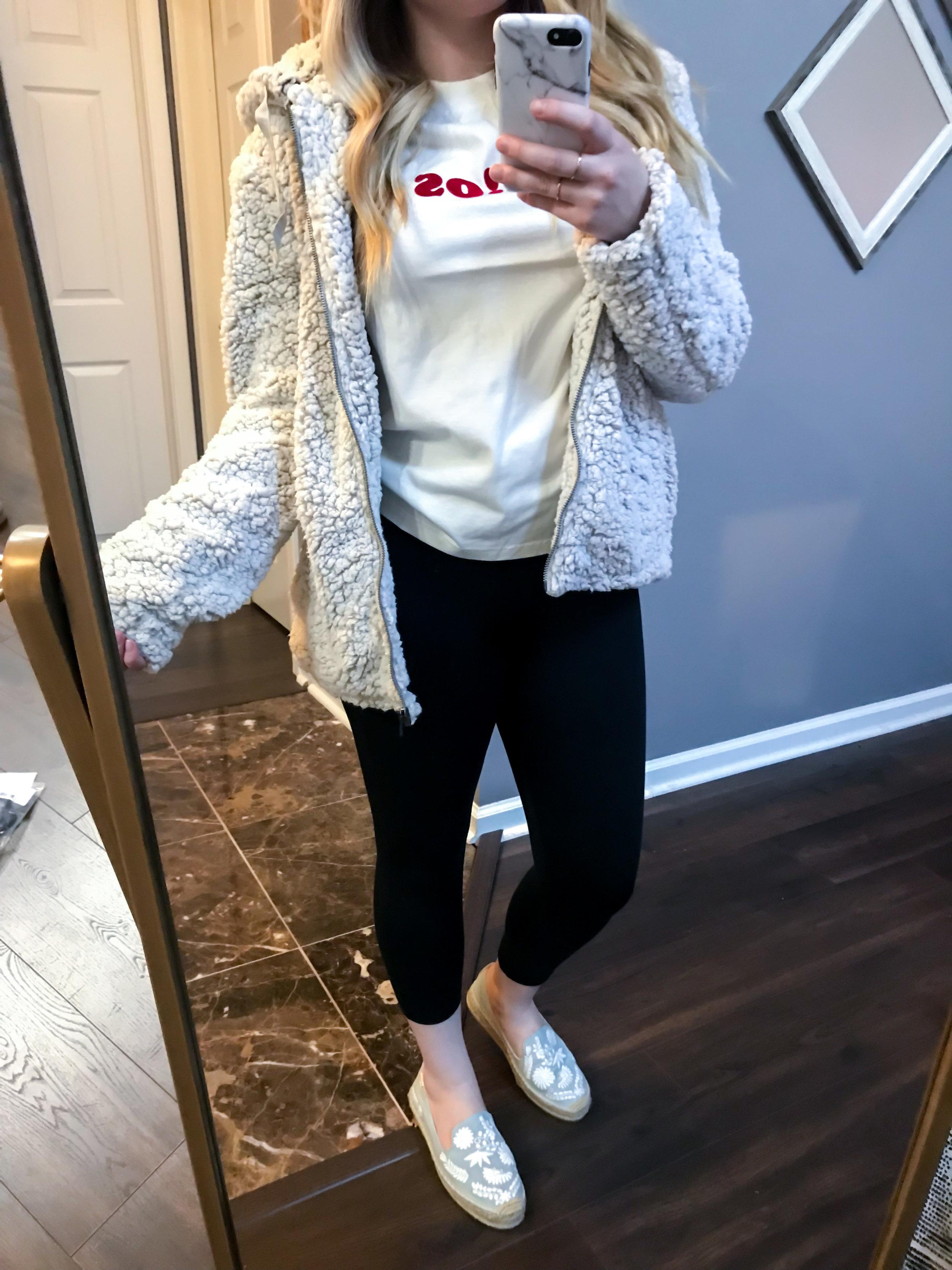 Maggie a la Mode Nordstrom Anniversary Sale 2018 Thread & Supply Brandon Fleece Jacket, Madewell Adios Tee, Zella Live-In Lite Crop Leggings, Soludos Ibiza Embroidered Loafer Espadrille