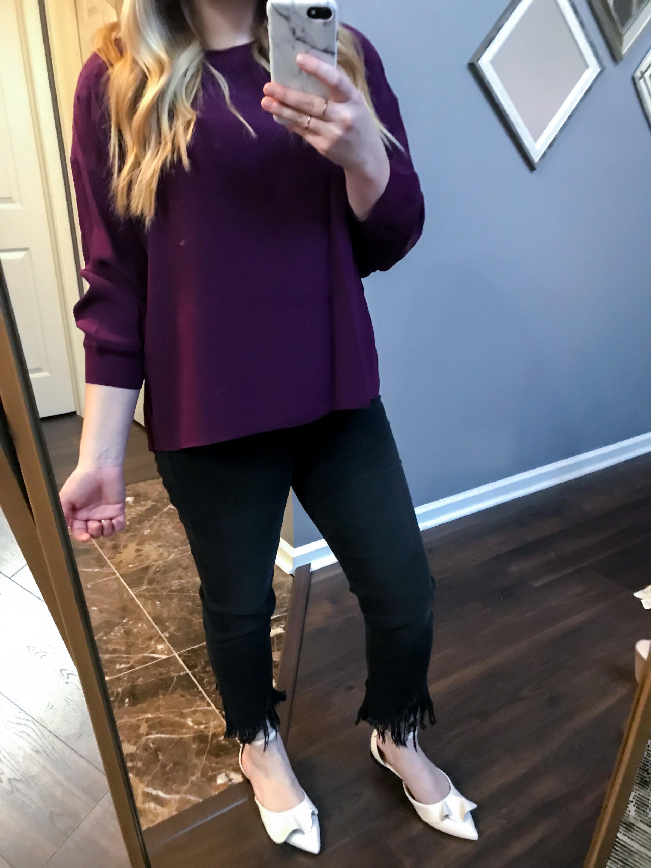Maggie a la Mode Nordstrom Anniversary Sale 2018 Vince Rib Trim Silk Blouse Mulberry, Mavi Jeans Sharkbite Fringe Hem Jeans, Lewit Alessia Flats