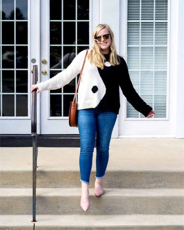 Maggie a la Mode - Instagram OOTD Madewell Yin-Yang Pullover Sweater Everlane The Pointed Slide