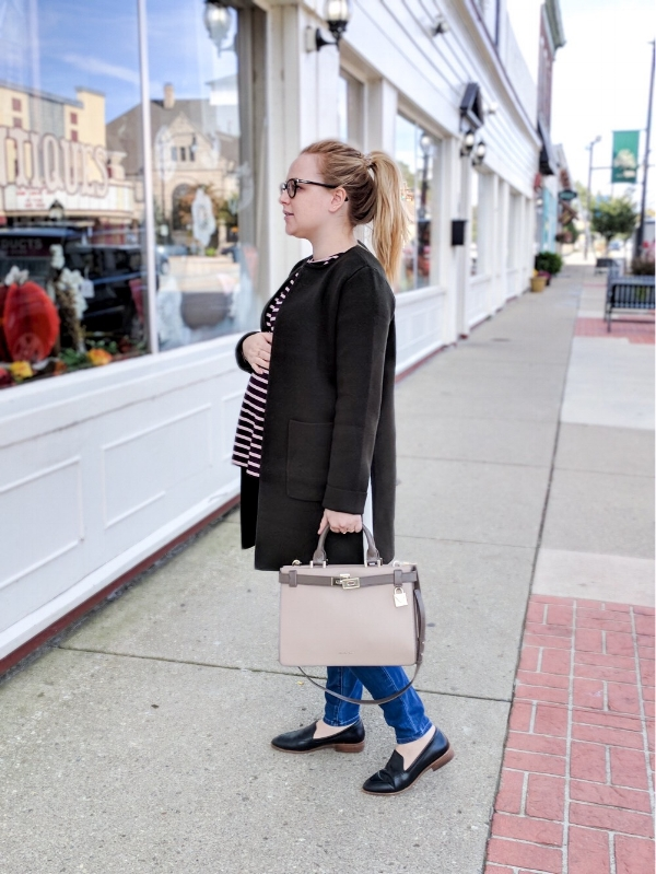 Maggie a la Mode - Instagram OOTD Anthropologie Evergreen Sweater Coat HATCH The Long Sleeve Tee Madewell Maternity Jeans Danny Wash Madewell Frances Loafer Michael Kors Tatiana Medium Two Tone Leather Satchel