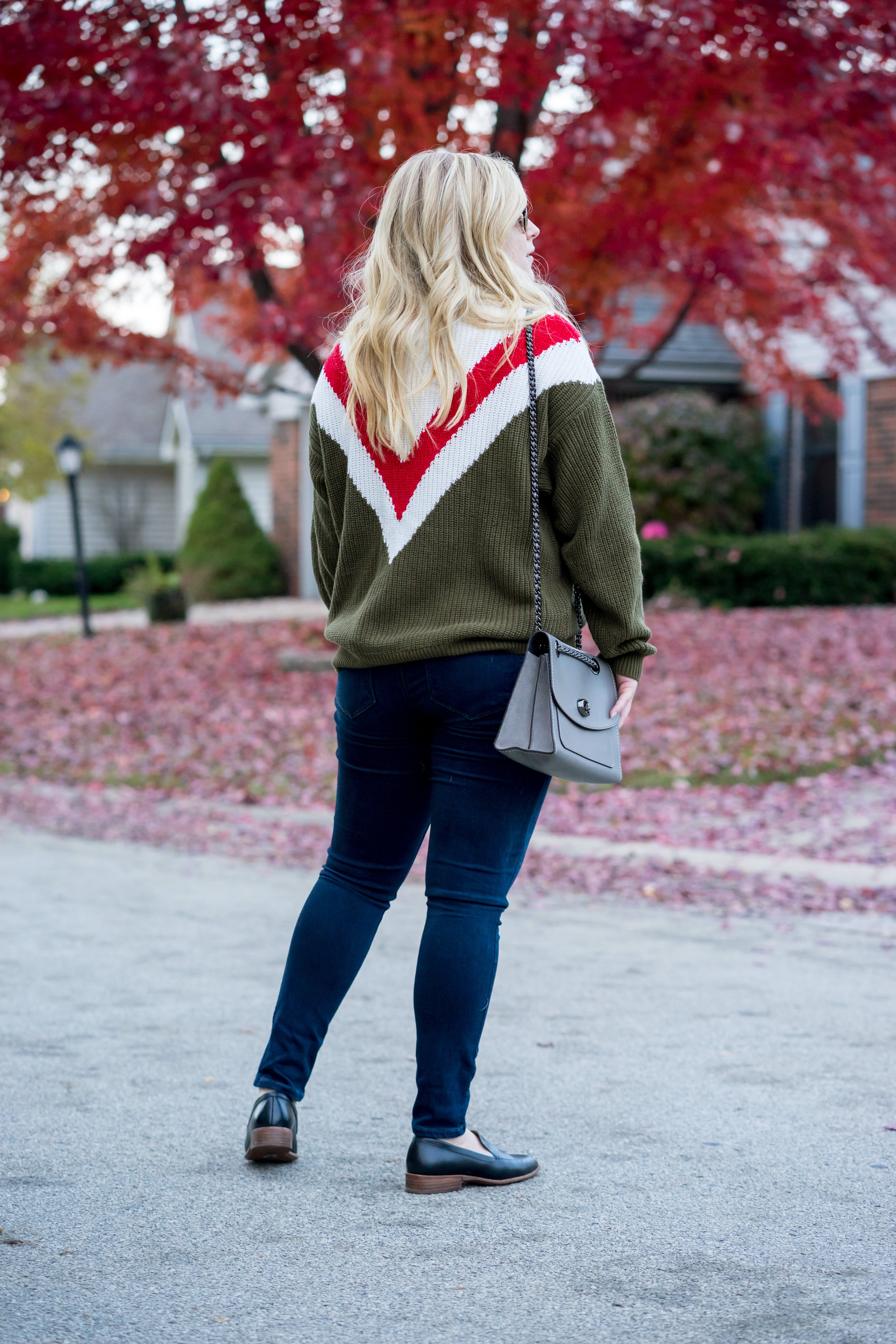Maggie a la Mode - Favorite Finds at Mango, Mango Tricolor Cotton Josh Sweater Khaki, Paige Verdugo Ankle Skinny Jeans, Coach Parker Shoulder Bag, Madewell Frances Loafer