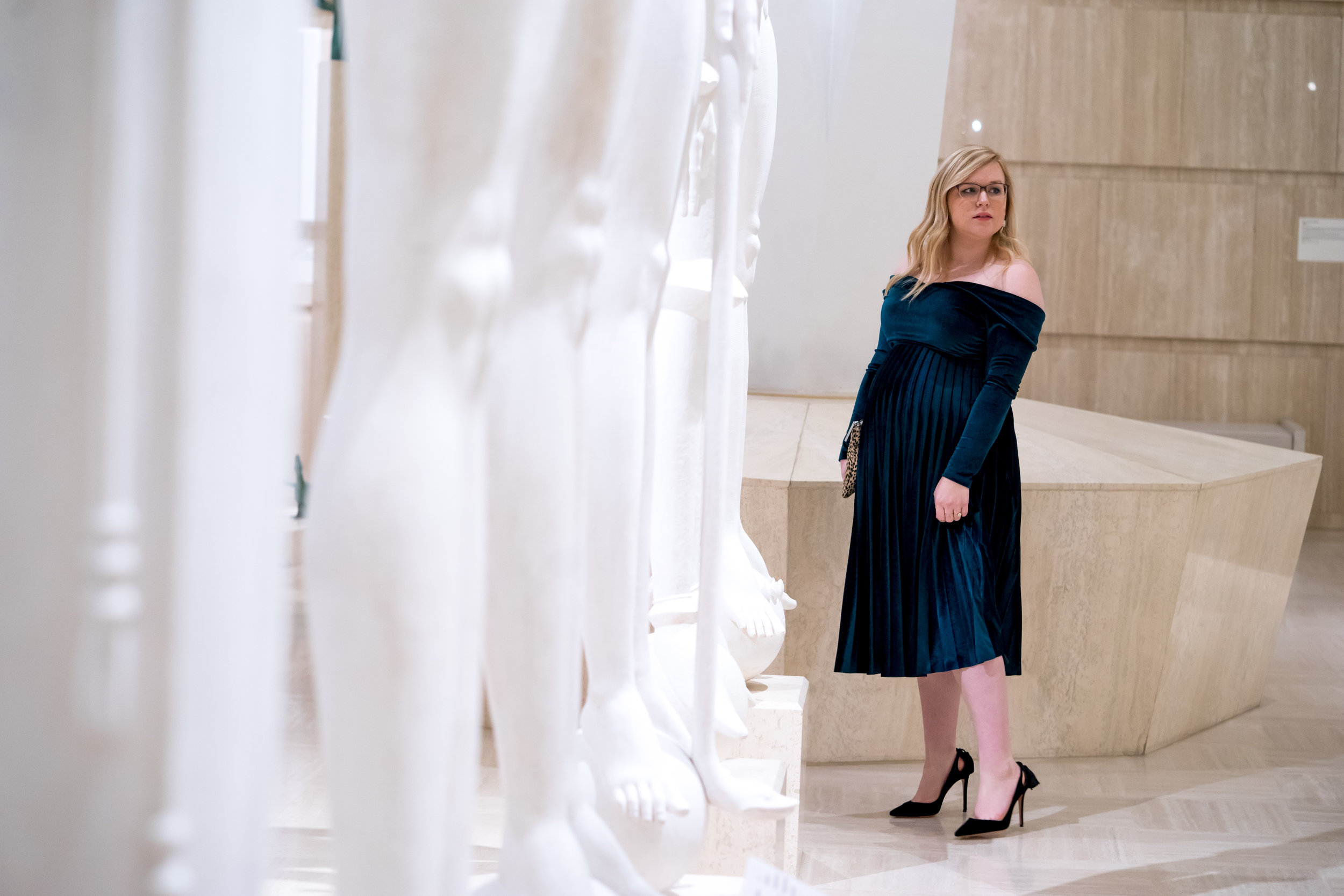Maggie a la Mode - Holiday Dresses ASOS DESIGN Pleated Velvet Bardot Midi Dress Emerald SVSU Sculpture Gallery-4.jpg