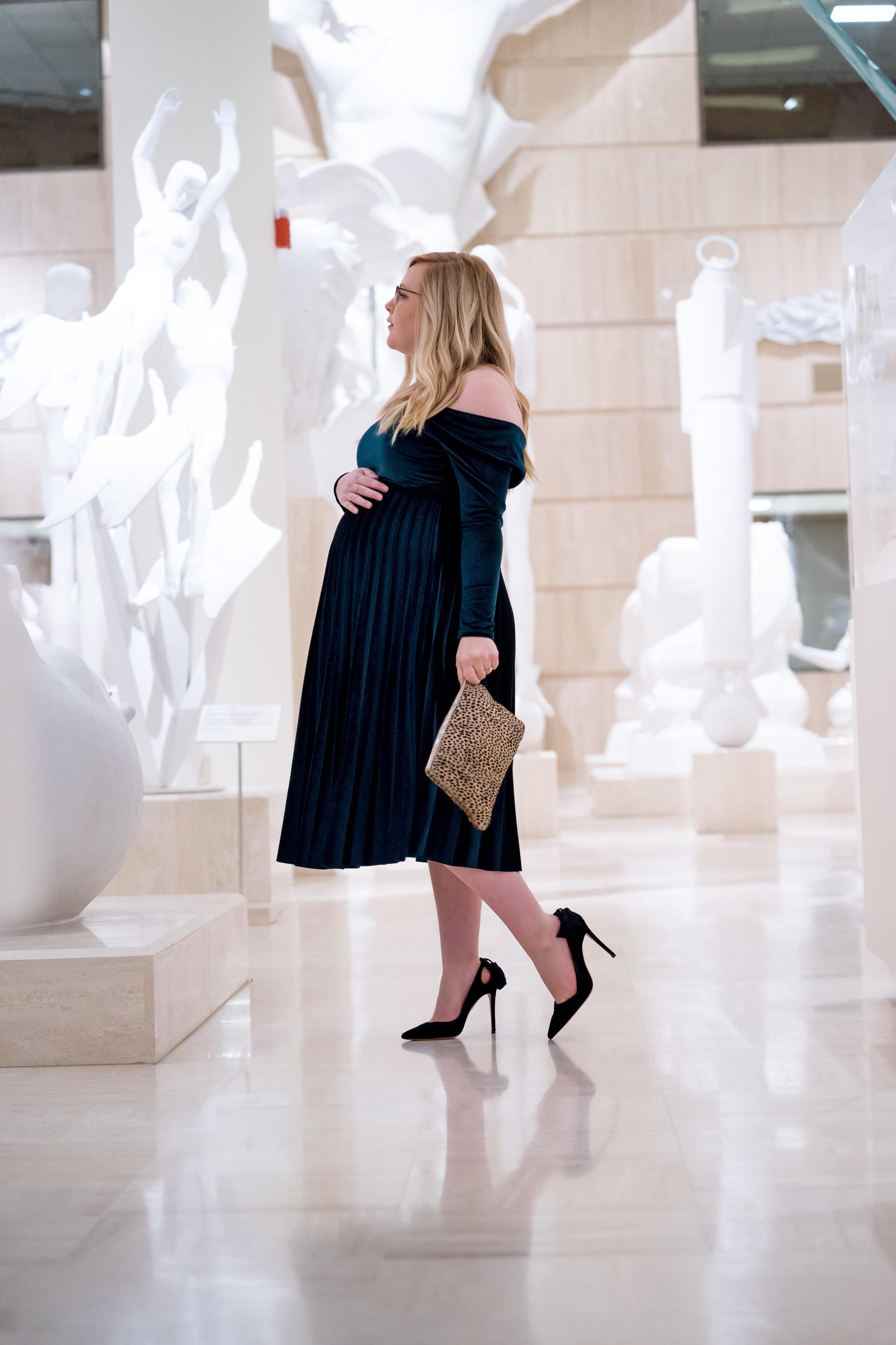 Maggie a la Mode - Holiday Dresses ASOS DESIGN Pleated Velvet Bardot Midi Dress Emerald SVSU Sculpture Gallery-8.jpg
