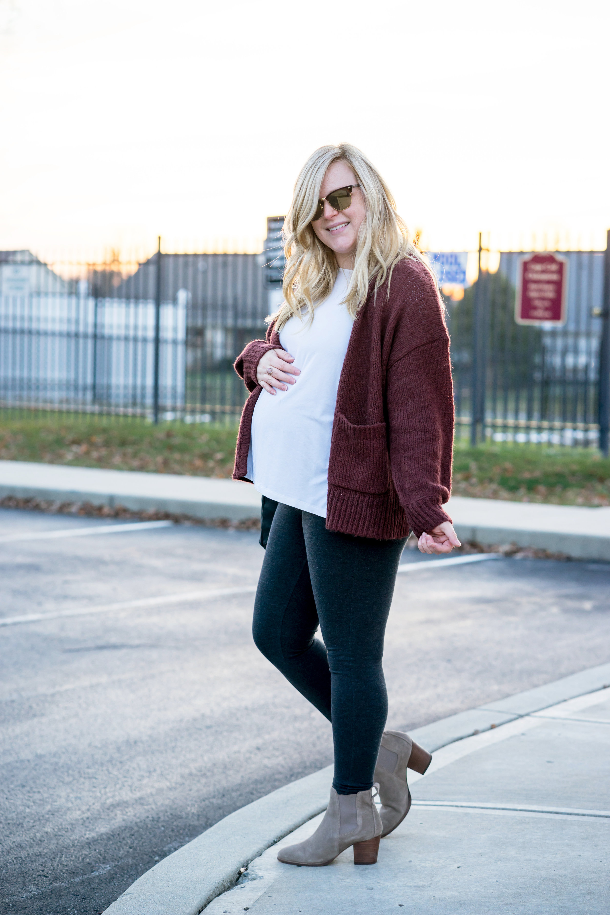 Maggie a la Mode - Where to get the best Maternity Clothing Essentials - Hatch The Long Sleeve Tee, Madewell Balloon-Sleeve Cardigan Sweater, Old Navy Maternity Full-Panel Leggings, Henri Bendel Jetsetter Mini Convertible Nylon Backpack, Madewell The Regan Suede Boots