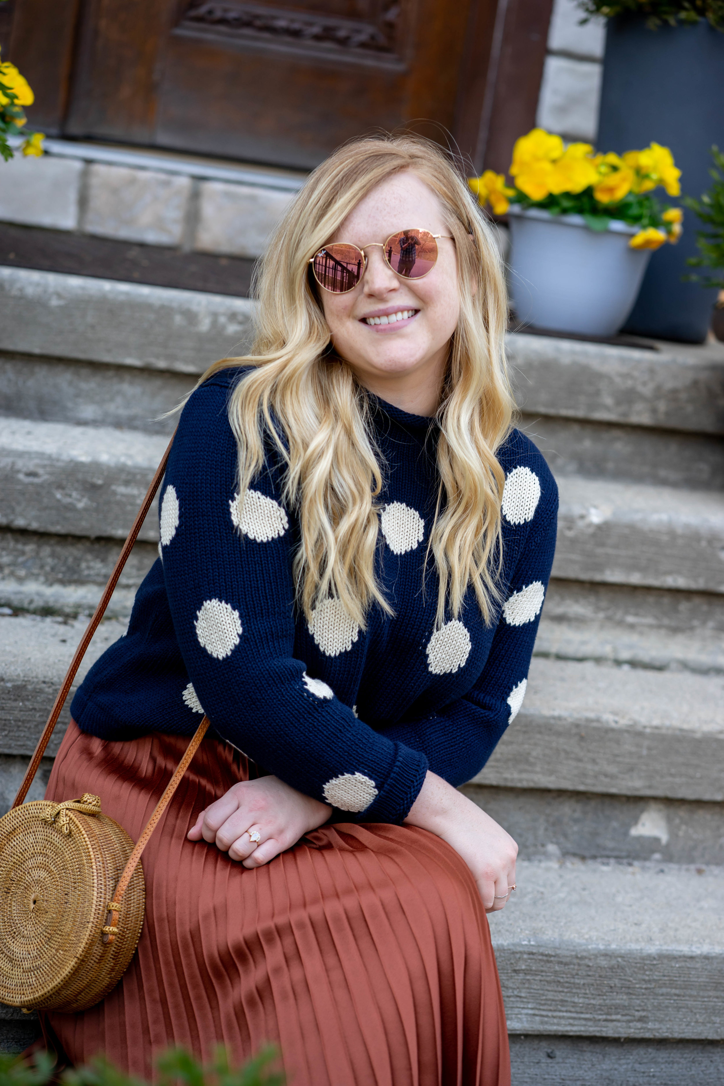 Maggie a la Mode - Sweater Spring Transition J Crew Rollneck Polka Dot Cropped Sweater, Sezane Dino Skirt, Via Spiga Forte Leather Block Heel Sandal