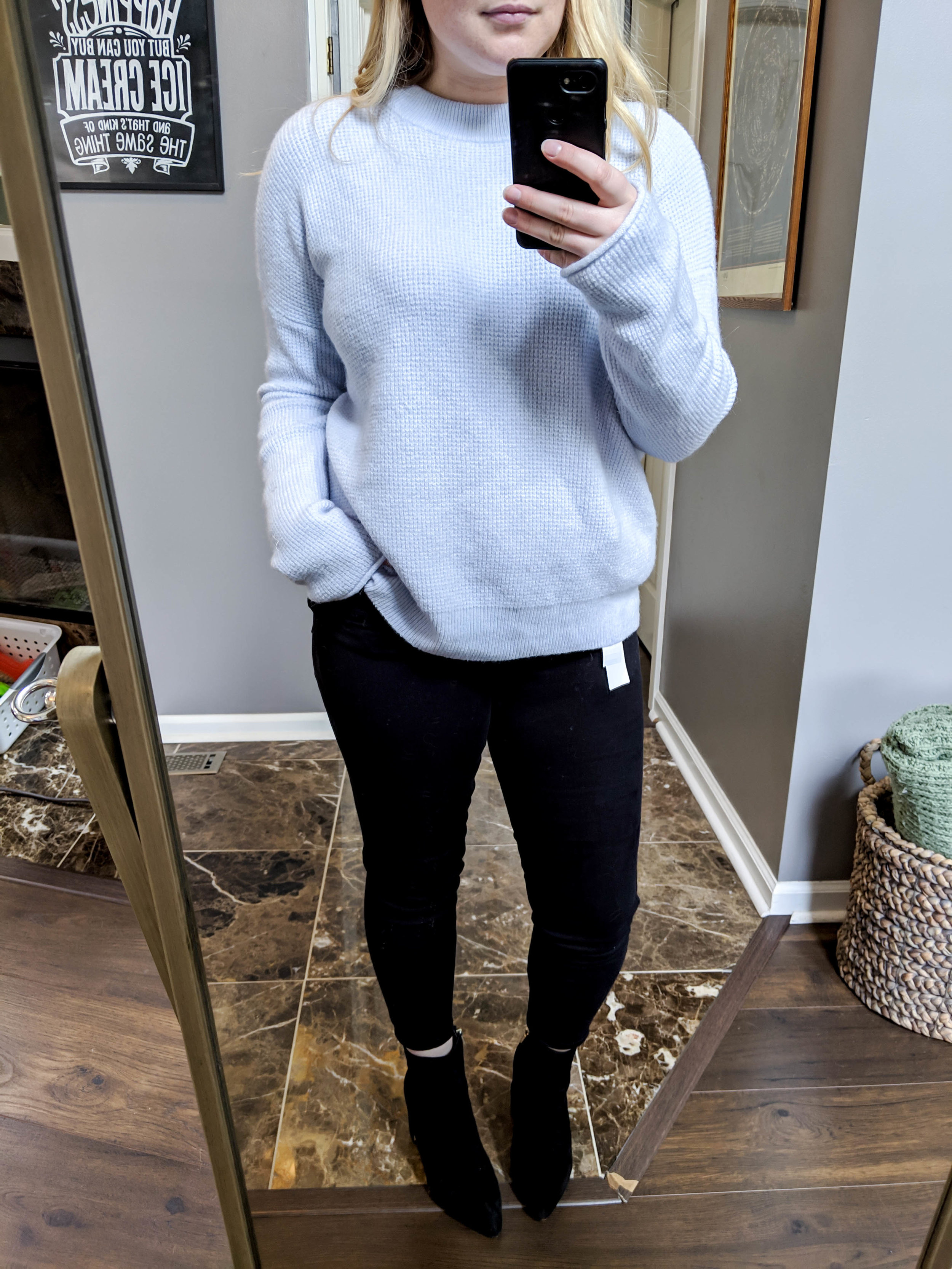 Maggie a la Mode - Home Try-Ons Review Topshop Moto Jamie High Waist Black Jeans, J Crew Point Sur Button Back Sweater in Waffled Supersoft Yarn, Sam Edelman Hilty Bootie