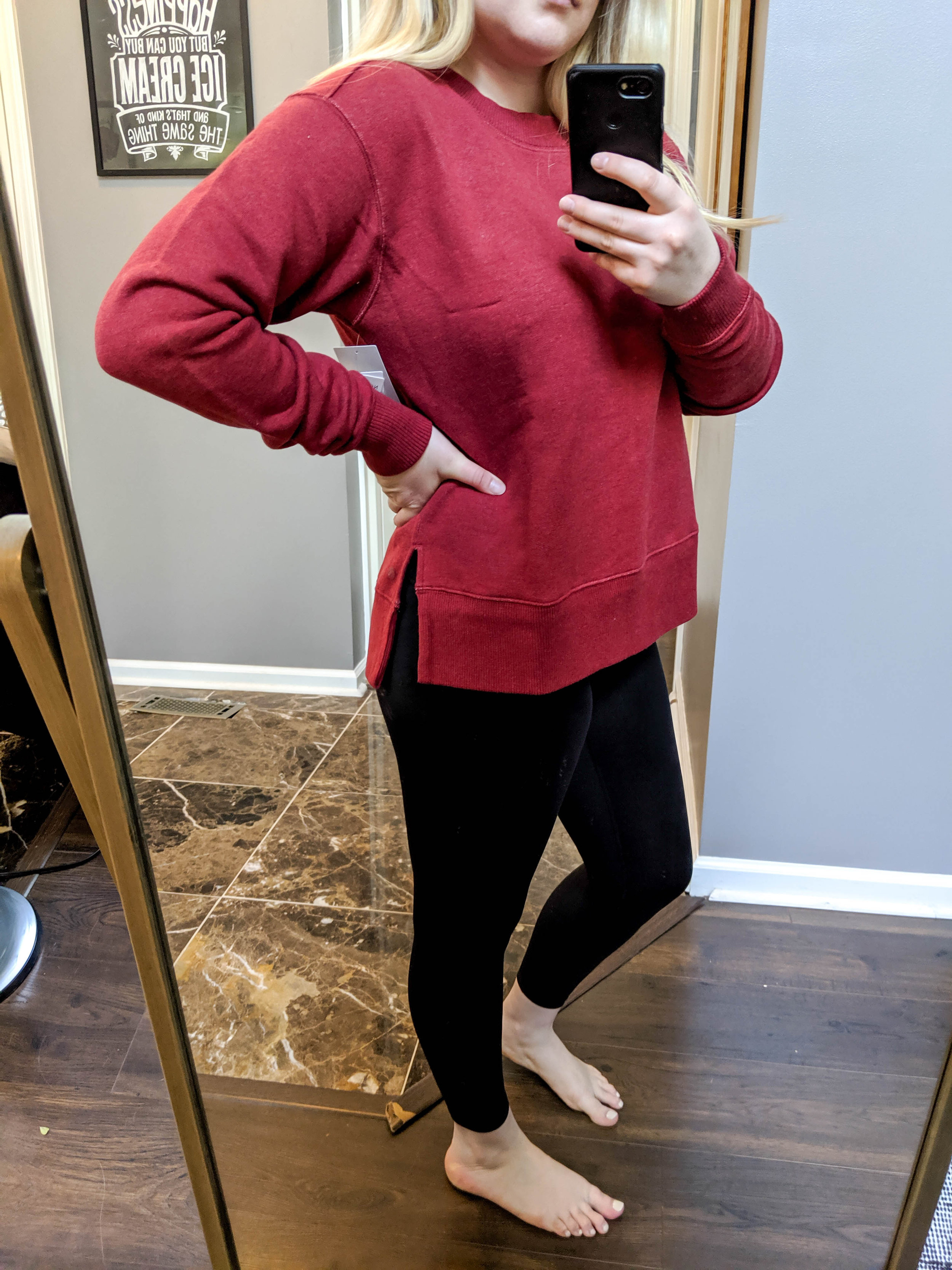 Maggie a la Mode 2019 Nordstrom Anniversary Sale Review Try On Real Body SPANX Active 7/8 Leggings Zella Nola High/Low Sweatshirt