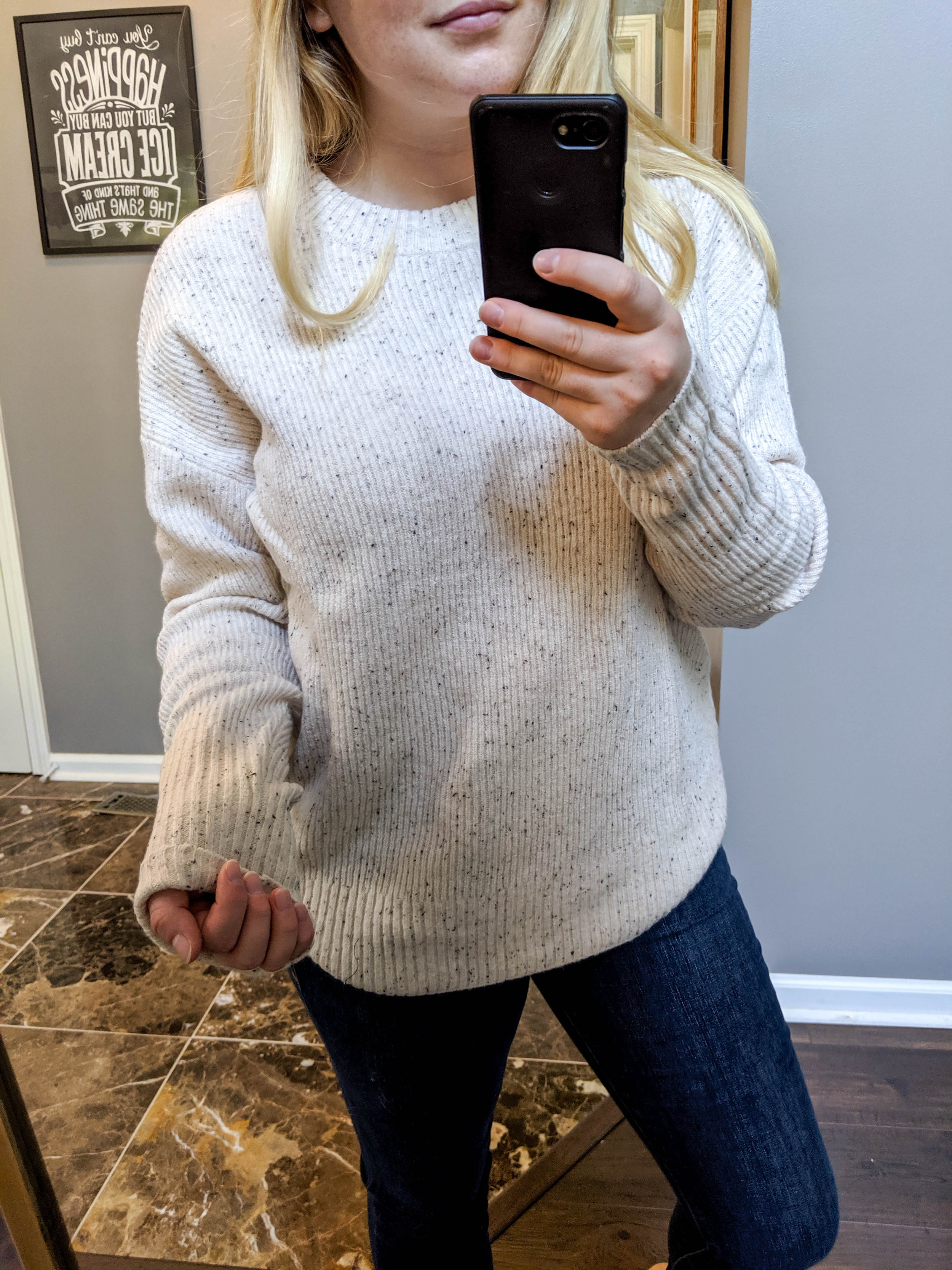 Maggie a la Mode 2019 Nordstrom Anniversary Sale Review Try On Real Body Something Navy Flecked Crewneck Sweater