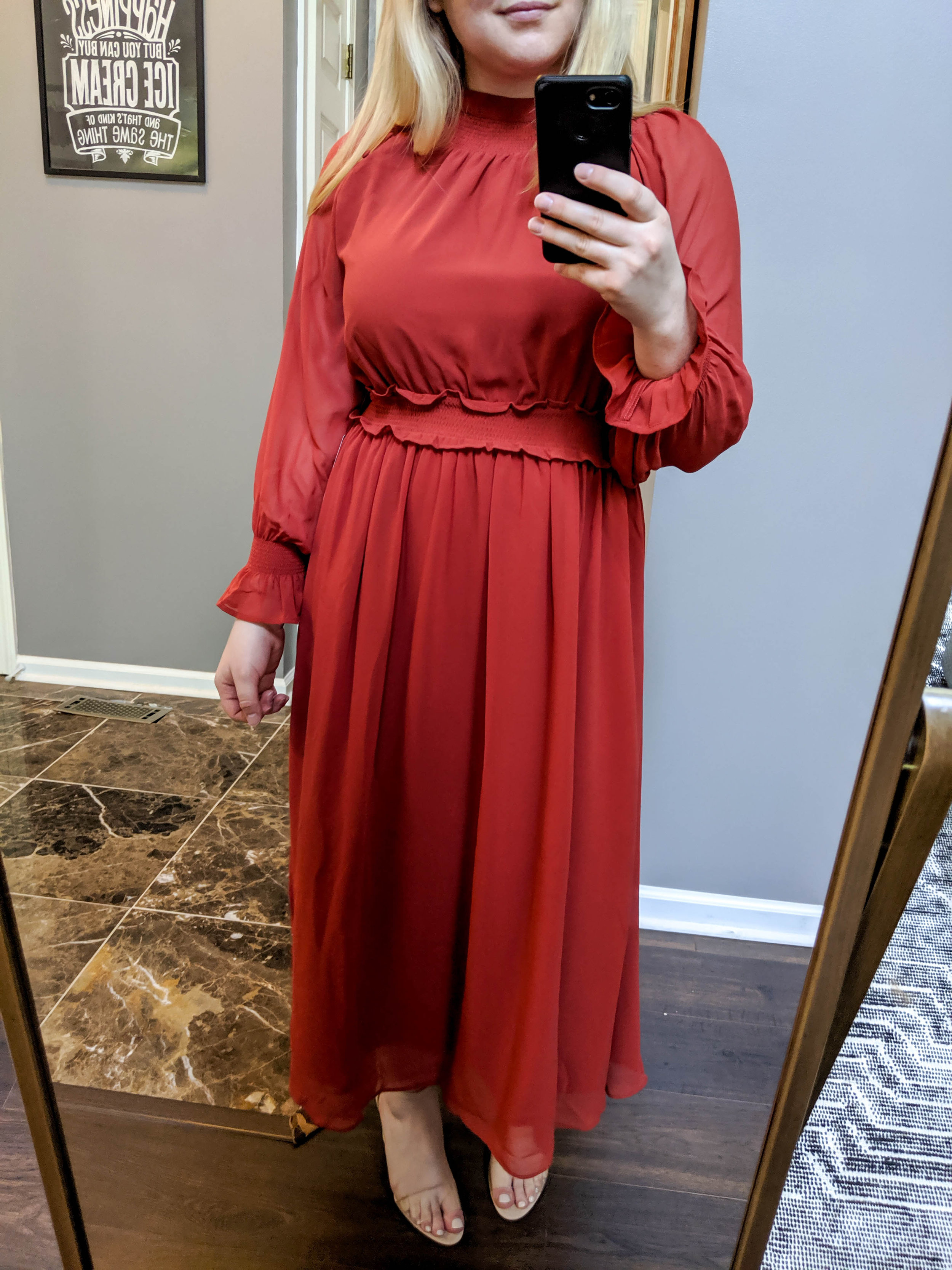 Maggie a la Mode 2019 Nordstrom Anniversary Sale Review Try On Real Body Chelsea28 Smocked Neck Long Sleeve Chiffon Midi Dress Vince Camuto Corlina Ankle Strap Sandal
