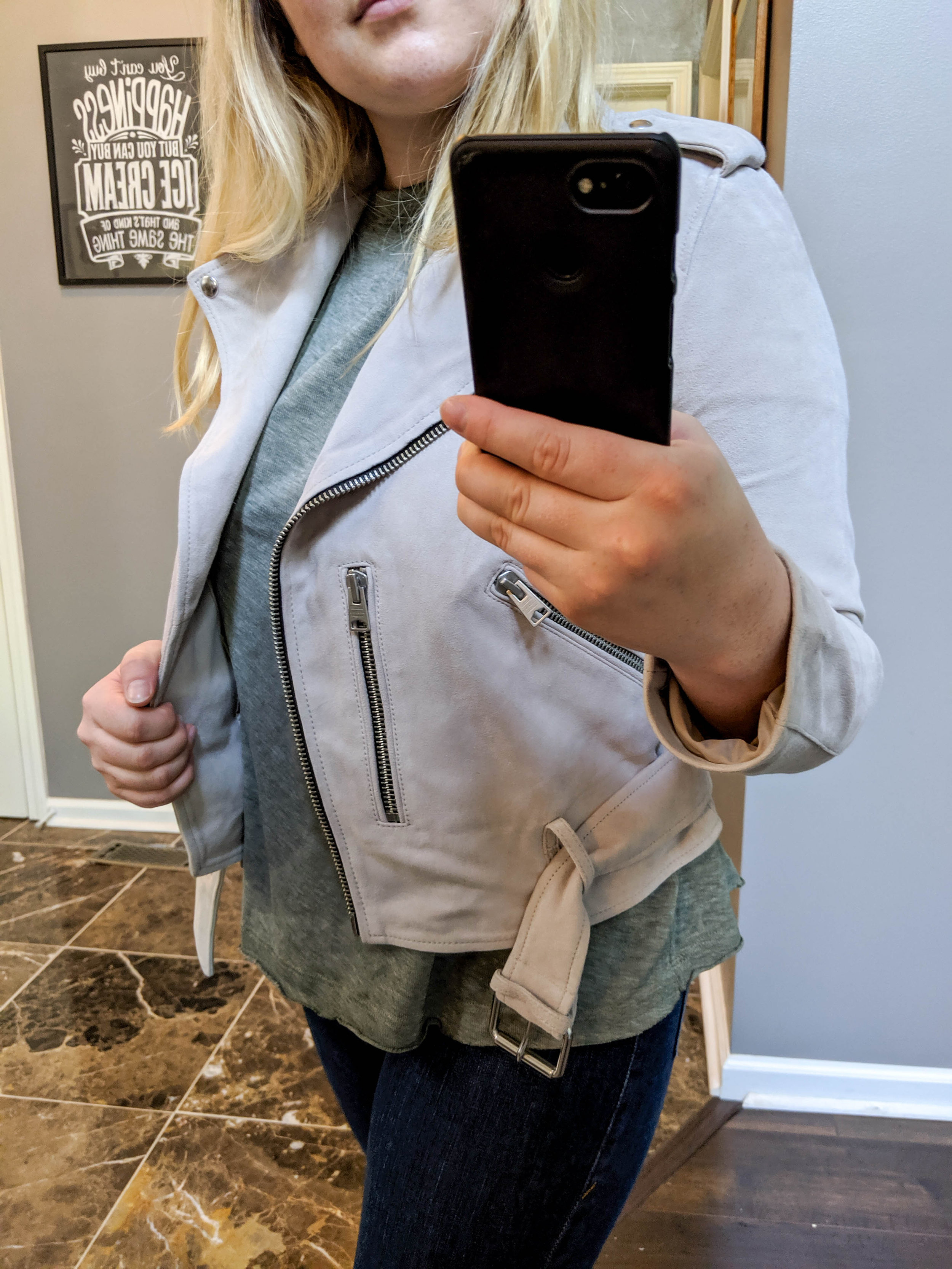 Maggie a la Mode 2019 Nordstrom Anniversary Sale Review Try On Real Body ALLSAINTS Balfern Suede Moto Jacket Free People Cassidy Tee