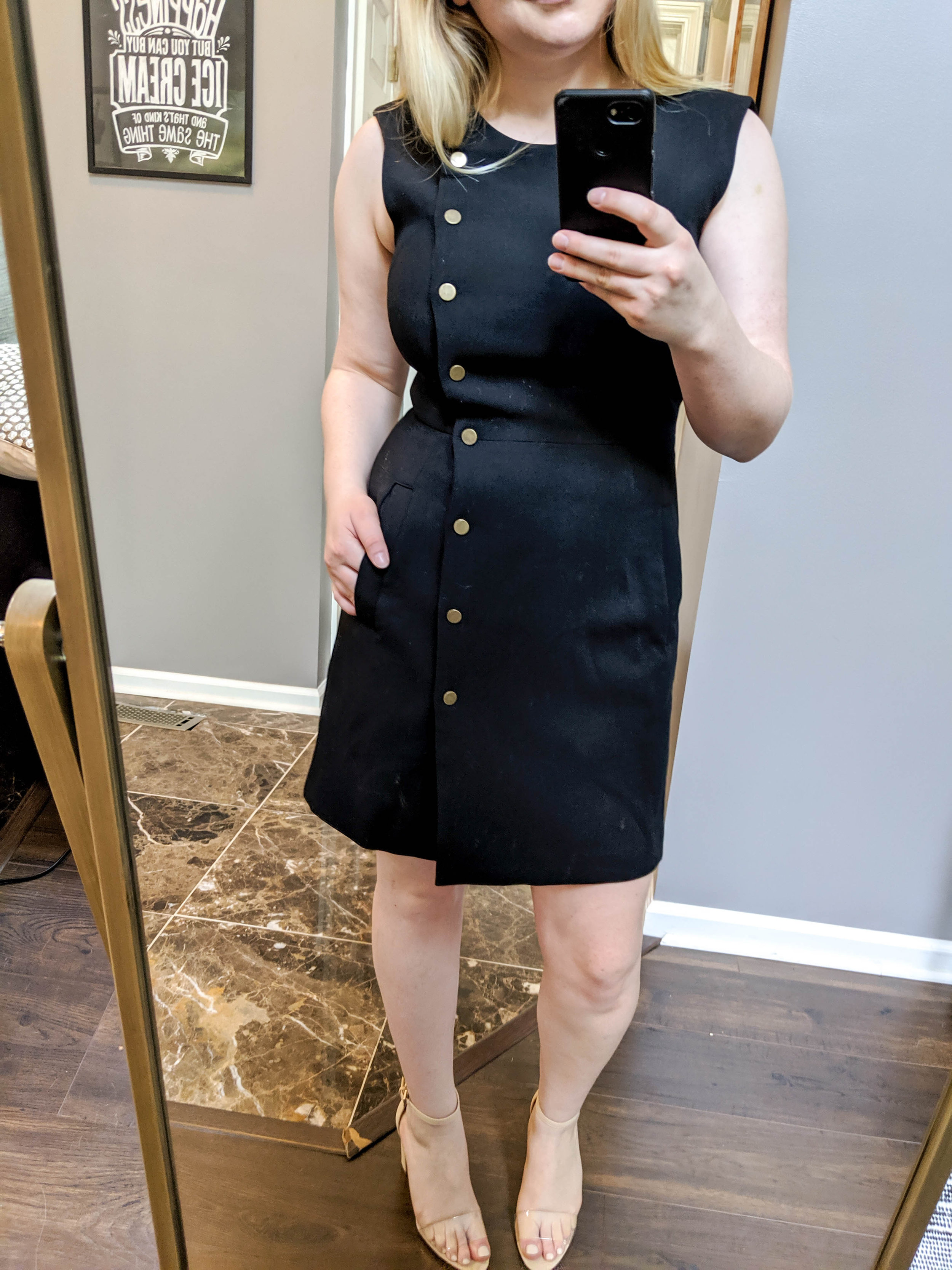 Maggie a la Mode 2019 Nordstrom Anniversary Sale Review Try On Real Body Veronica Beard Cutler Dress, Vince Camuto Corlina Ankle Strap Sandal