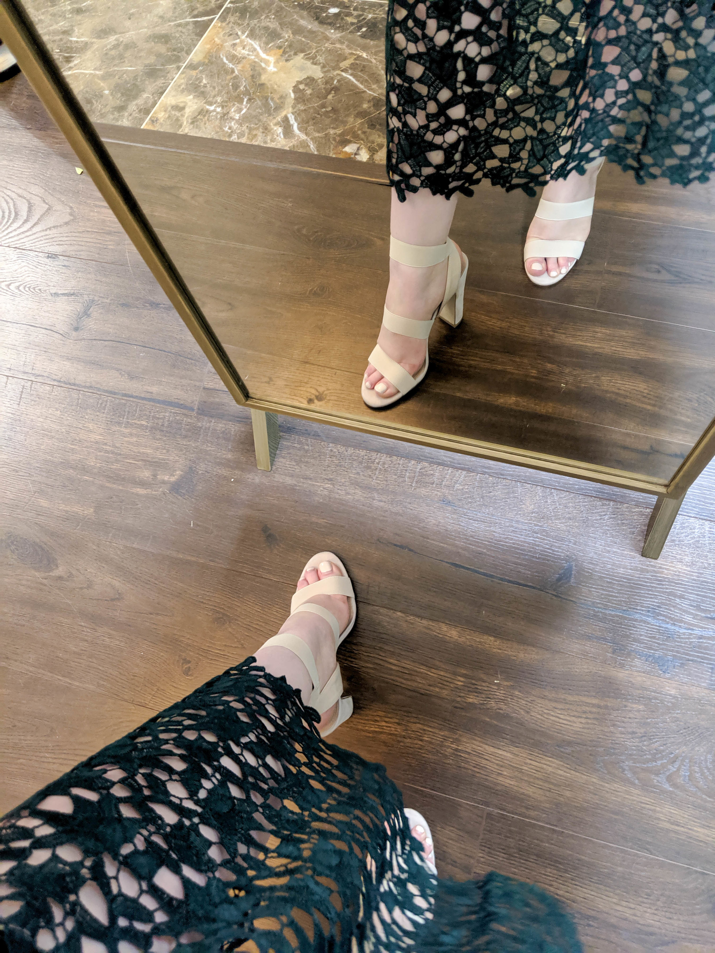Maggie a la Mode 2019 Nordstrom Anniversary Sale Review Try On Real Body ASTR The Label Lace Midi Dress, Steve Madden Tiffani Ankle Strap Sandal