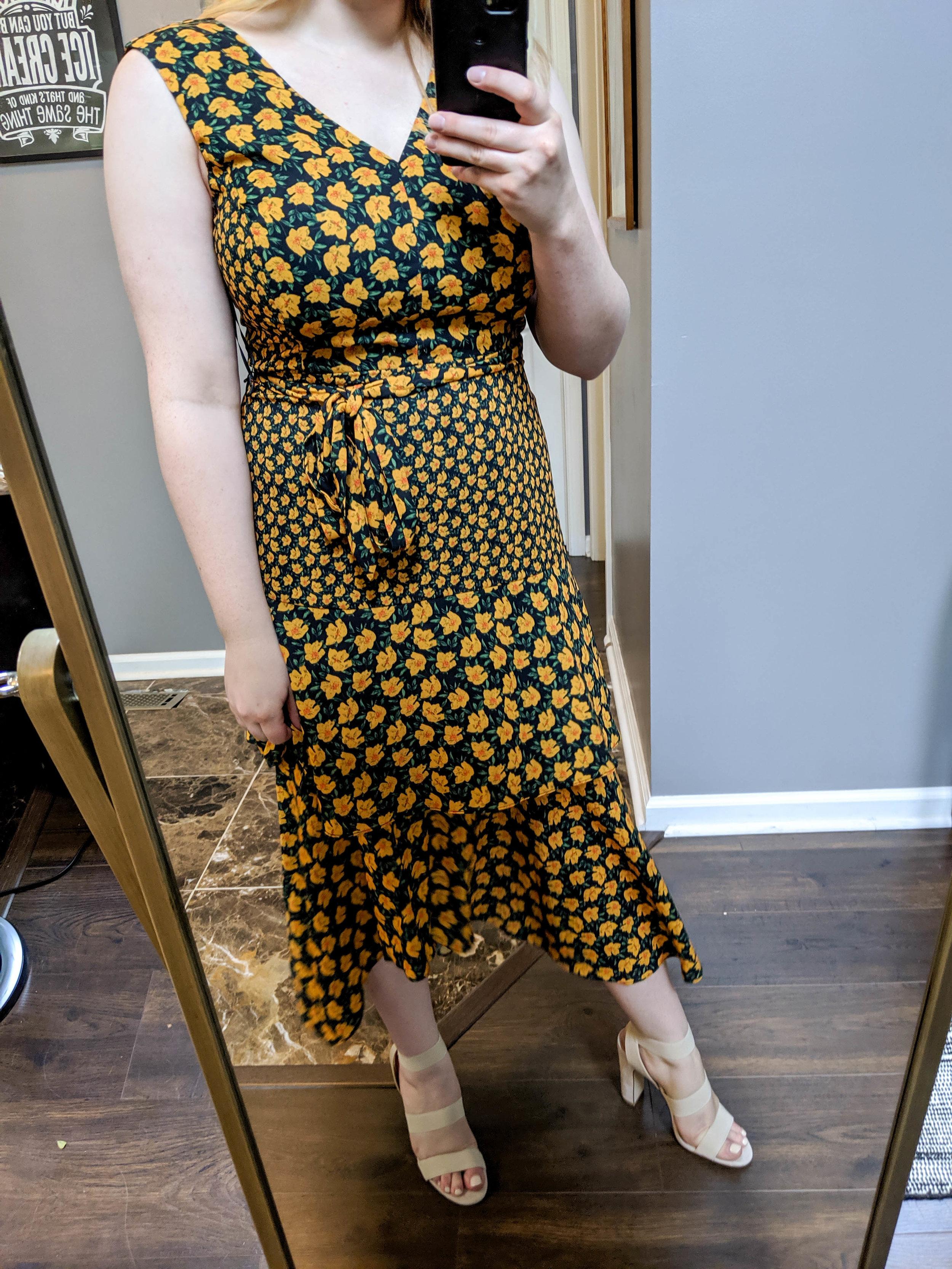 Maggie a la Mode 2019 Nordstrom Anniversary Sale Review Try On Real Body Sam Edelman Bold Poppy Tiered Asymmetrical Midi Dress, Steve Madden Tiffani Ankle Strap Sandal