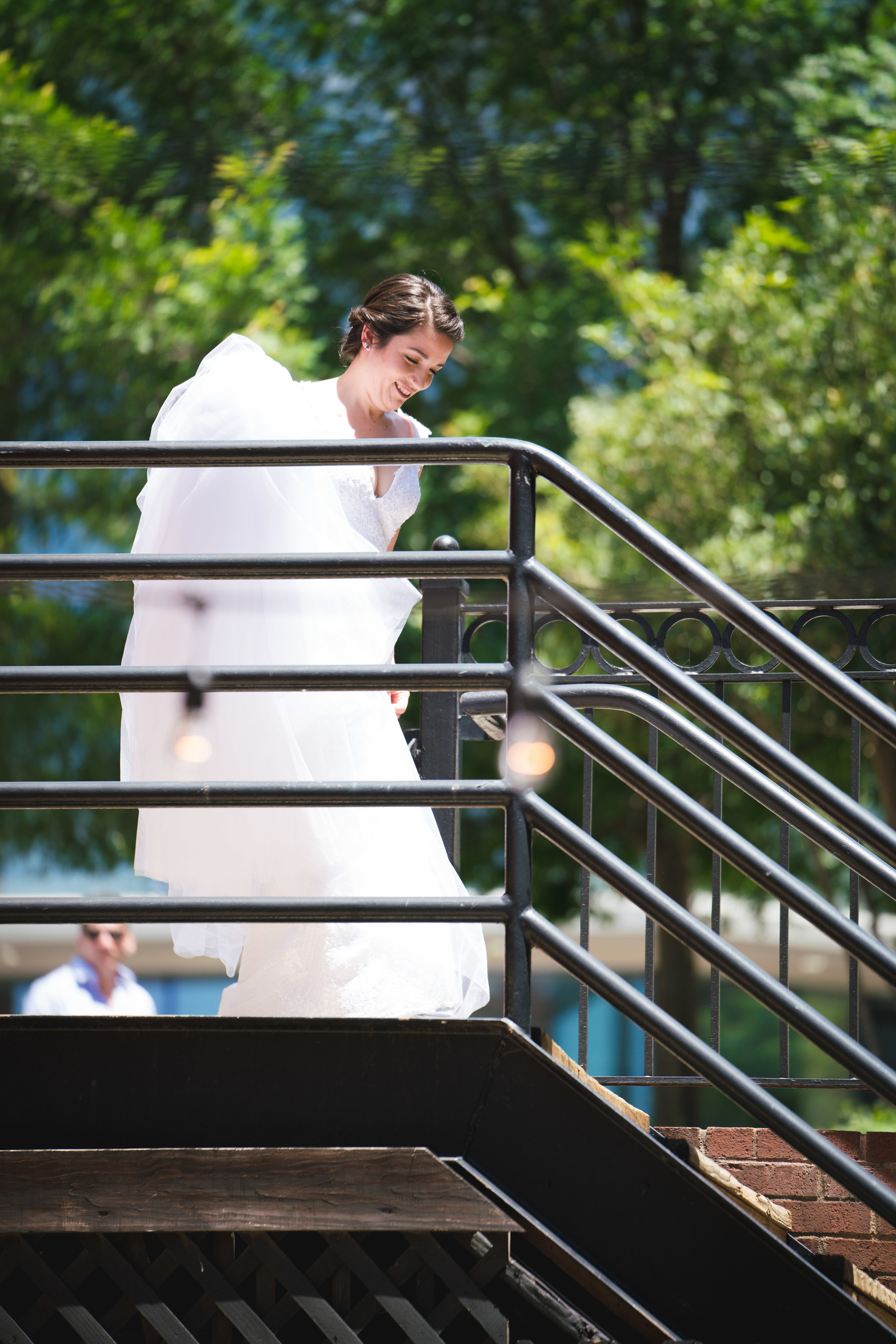 Bride entering for first look, Larkins on the River Downtown Greenville Wedding