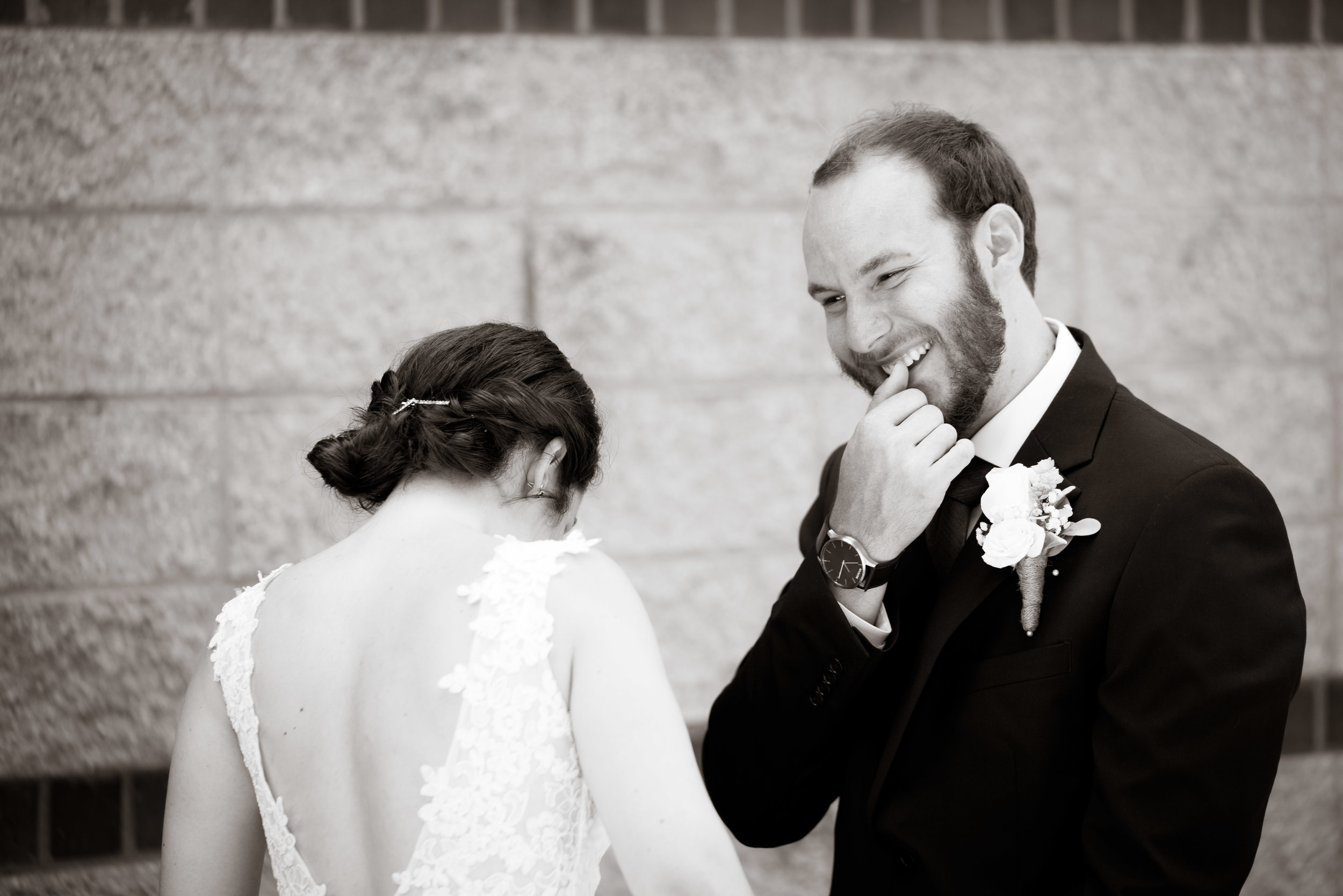 Bride and groom first look, Downtown Greenville Wedding