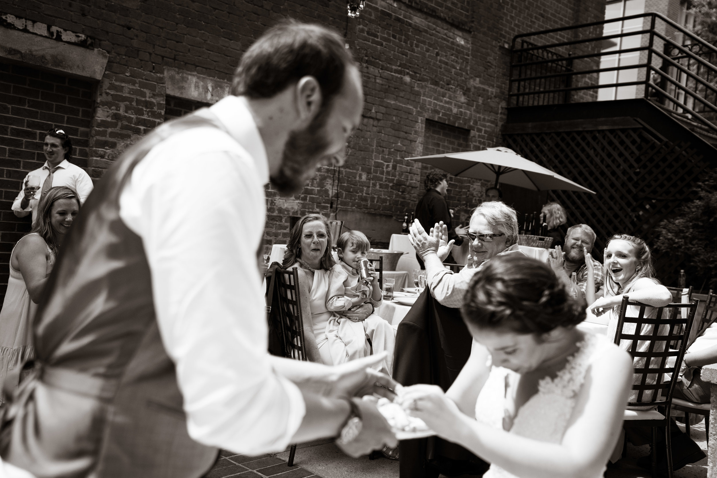 Cake cutting, Larkins on the River Downtown Greenville Wedding