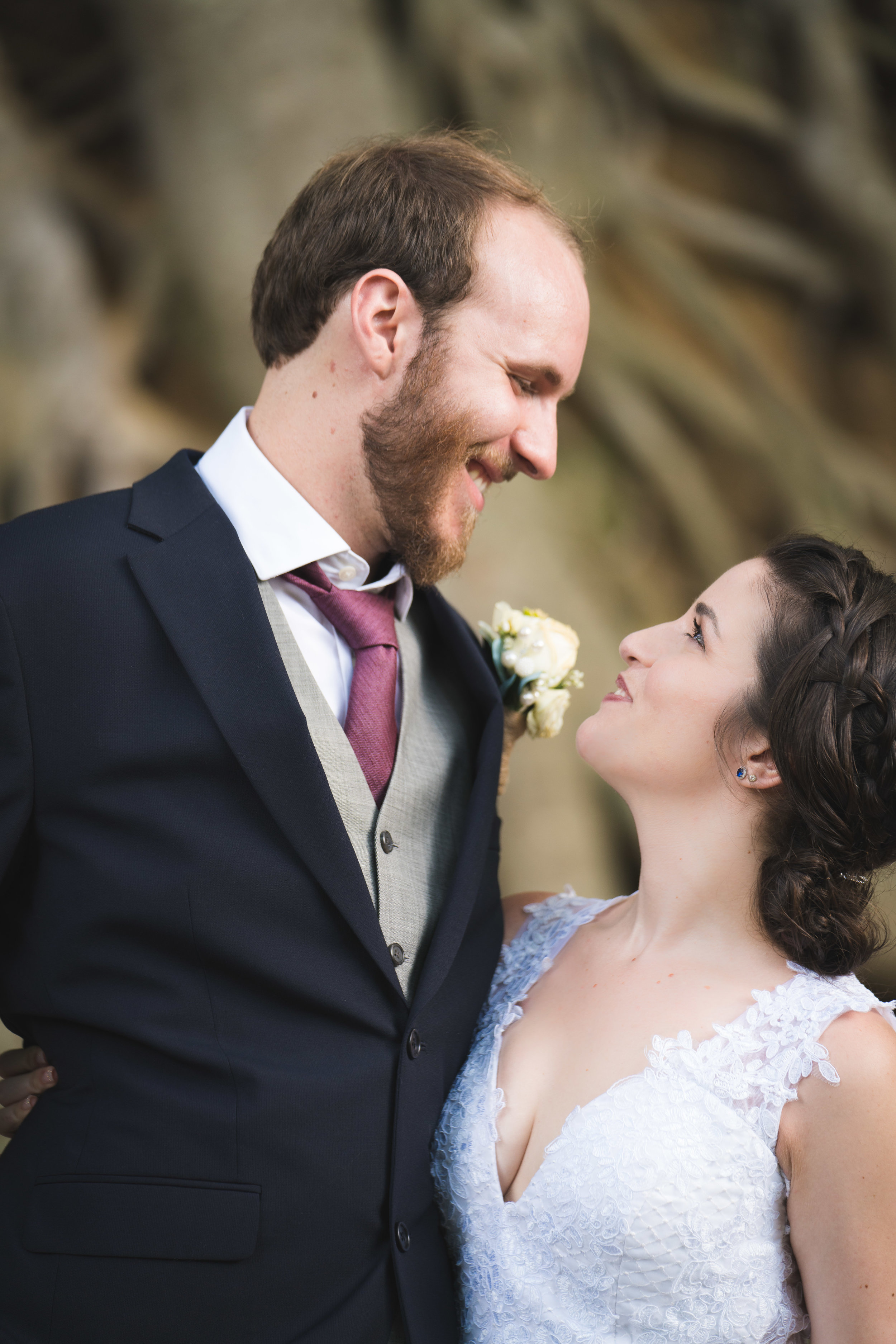 Bride and groom, Falls Park Downtown Greenville Wedding