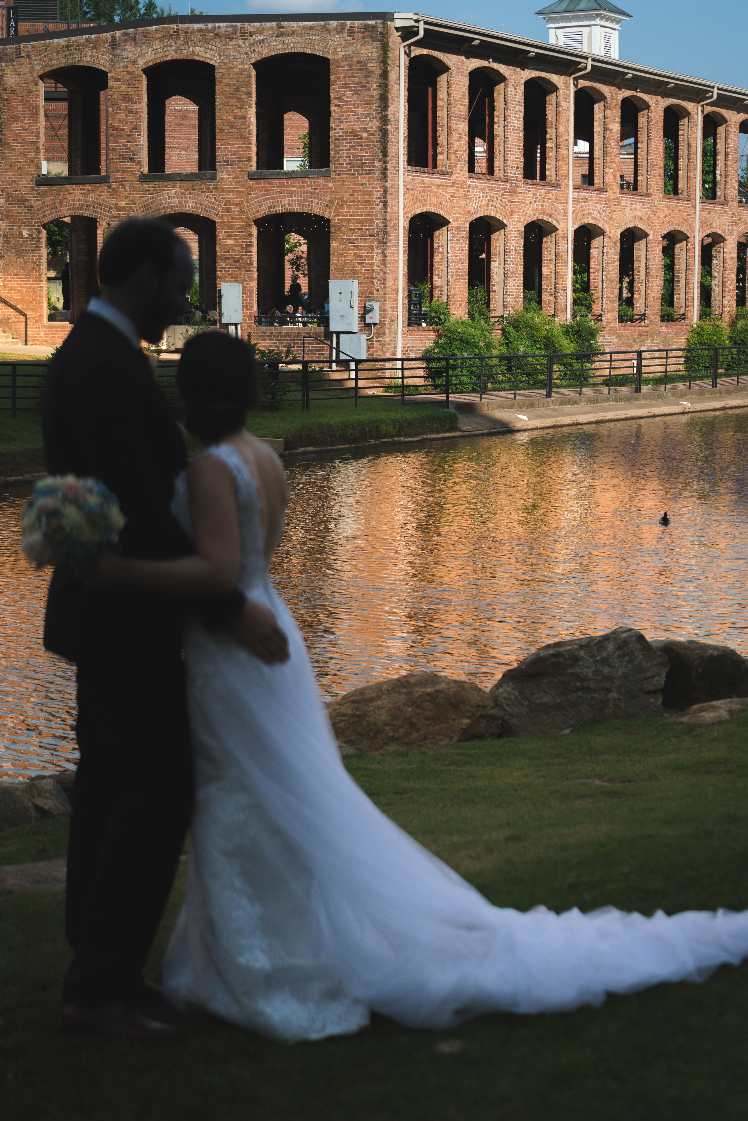 Bride and groom, Larkins on the River Downtown Greenville Wedding