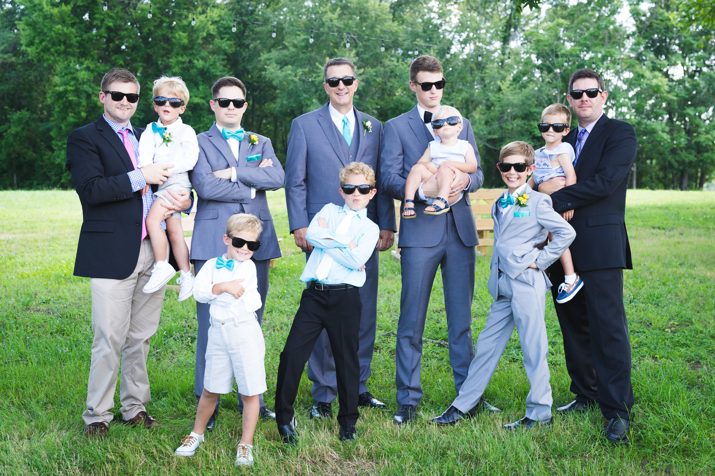 The guys with sunglasses | Windy Hill Wedding and Event Barn in Simpsonville, SC