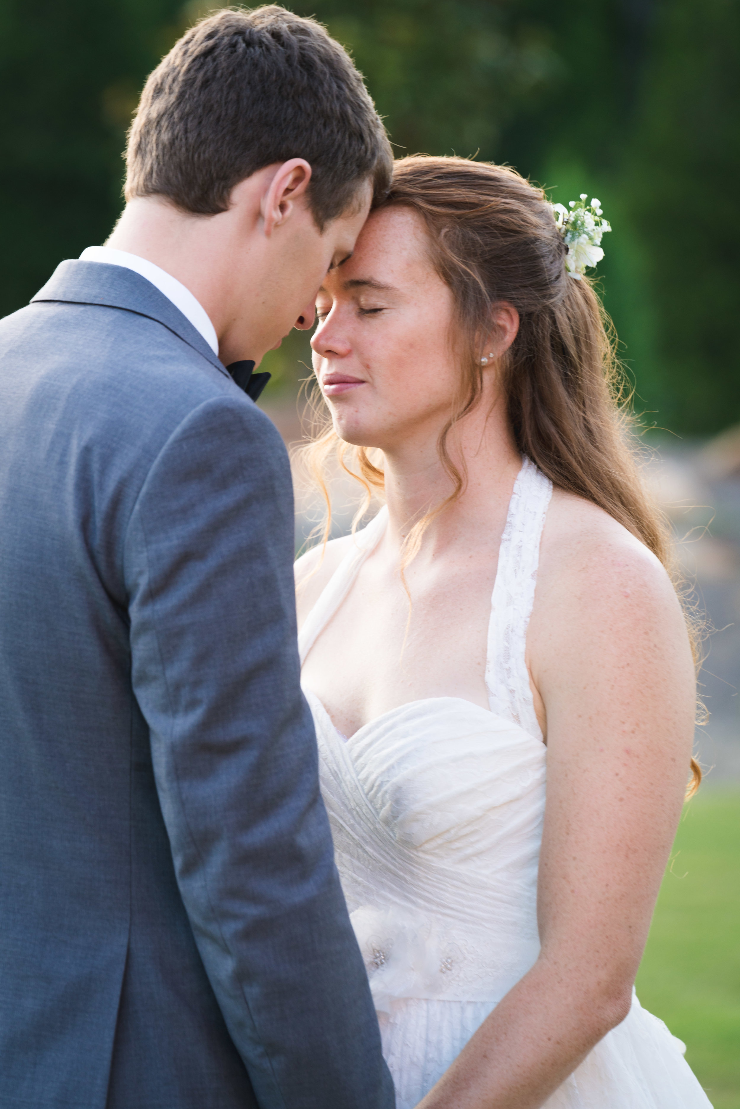 Bride and groom emotional moment | Windy Hill Wedding and Event Barn in Simpsonville, SC