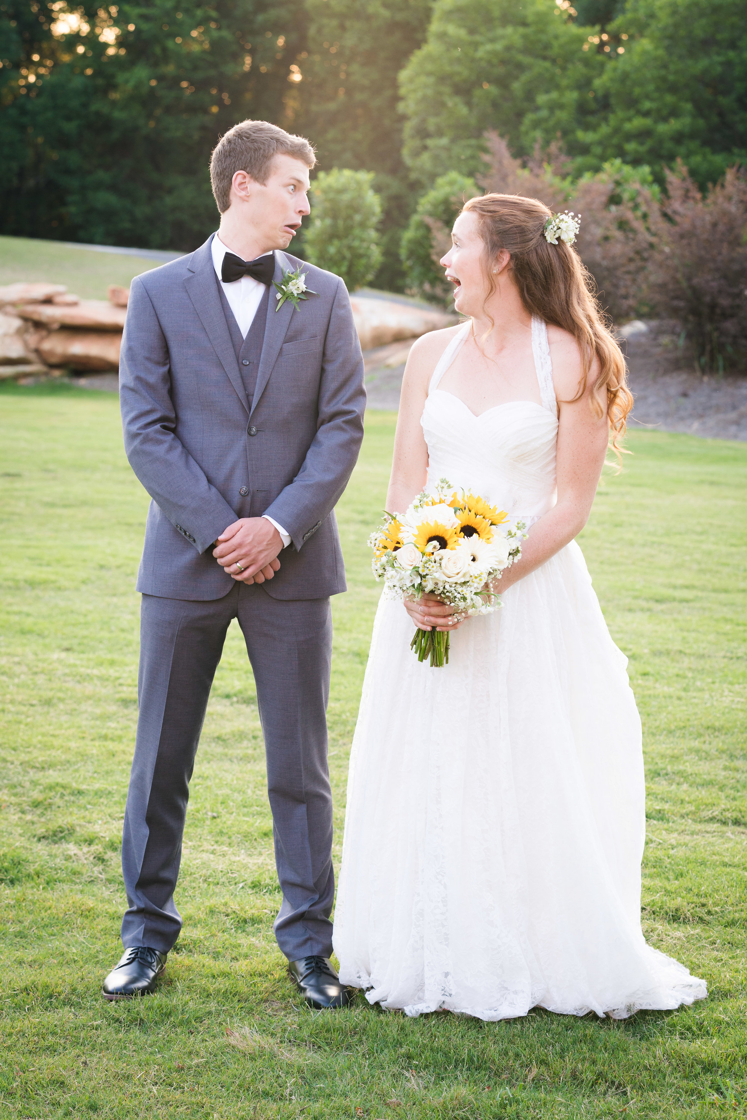 Bride and groom funny portrait | Windy Hill Wedding and Event Barn in Simpsonville, SC