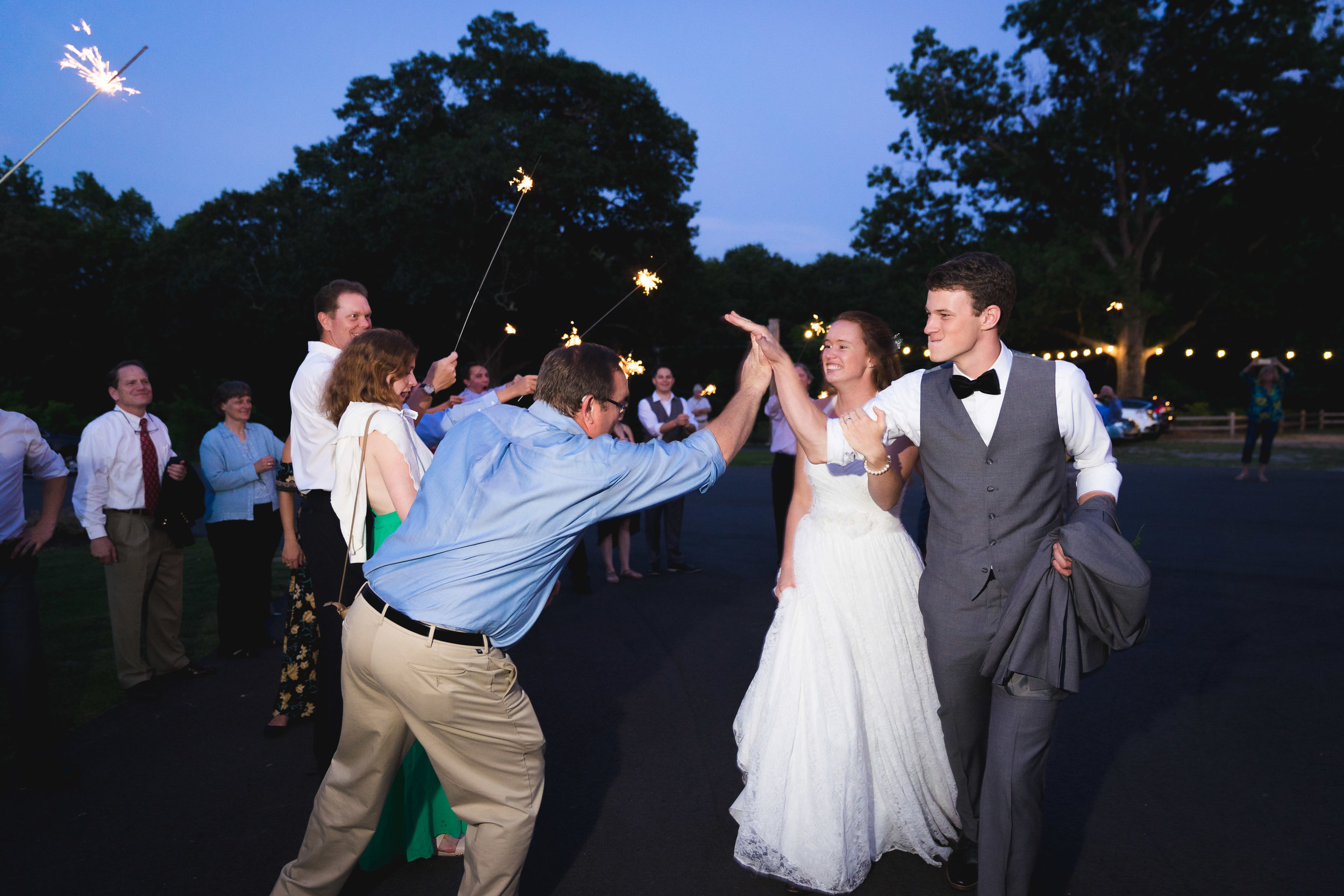 Bride and groom sparkler exit | Windy Hill Wedding and Event Barn in Simpsonville, SC