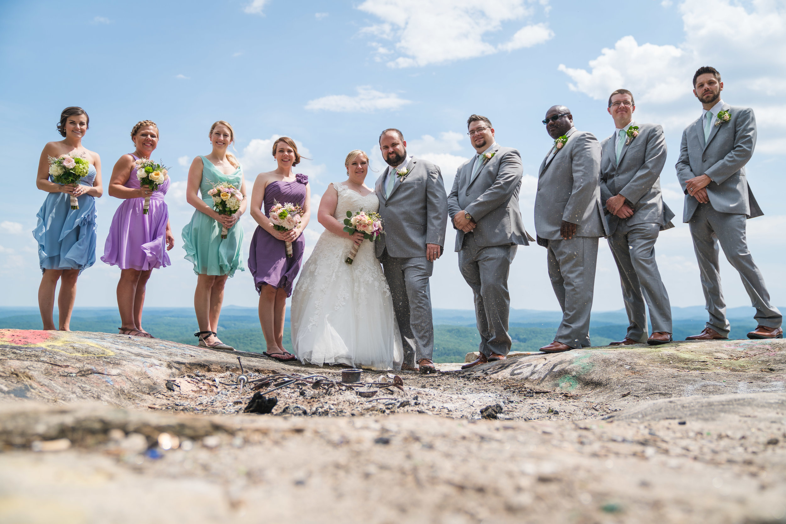 Wedding party at Bald Rock, SC