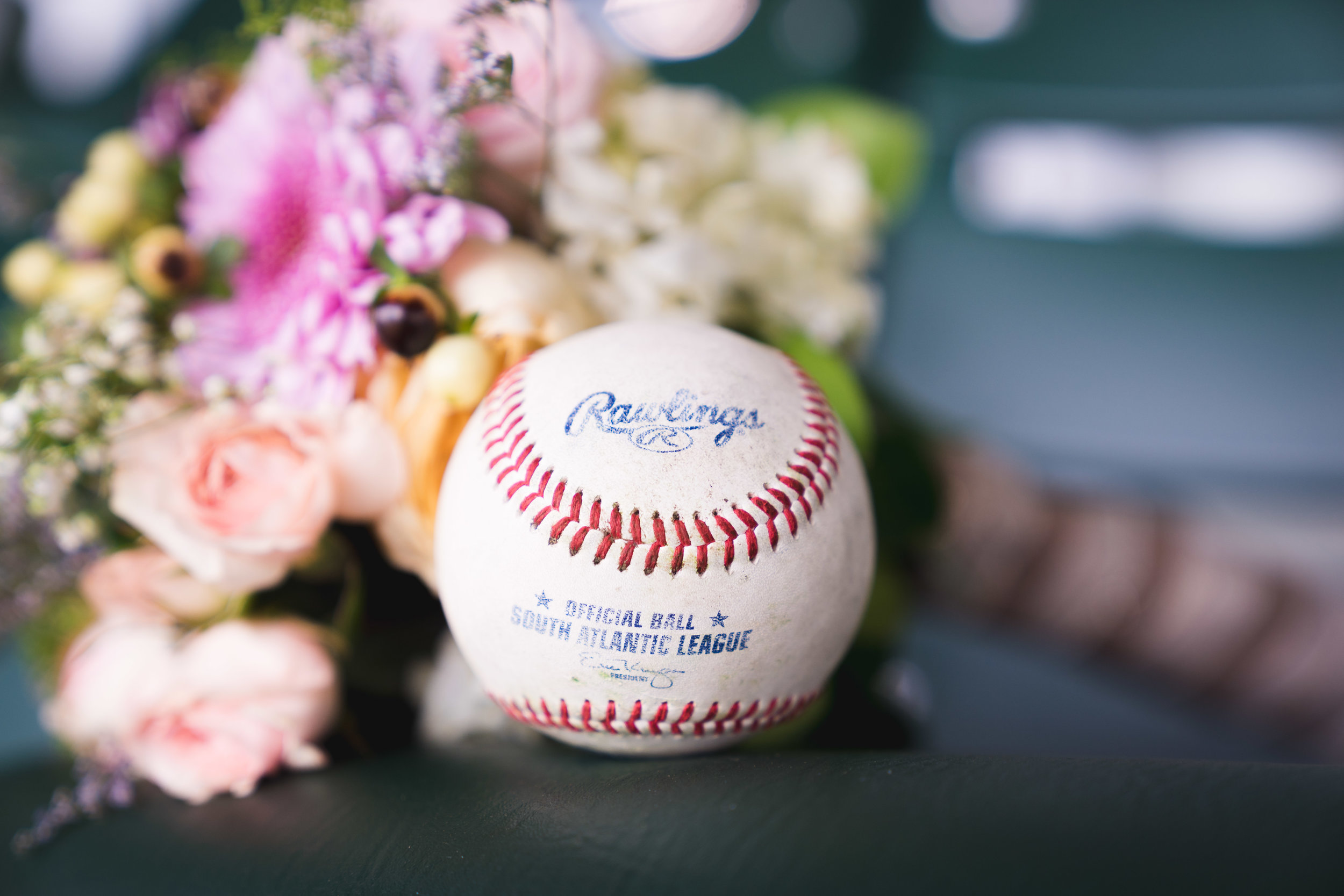 Baseball and bouquets | Flour Field Wedding in Downtown Greenville, SC