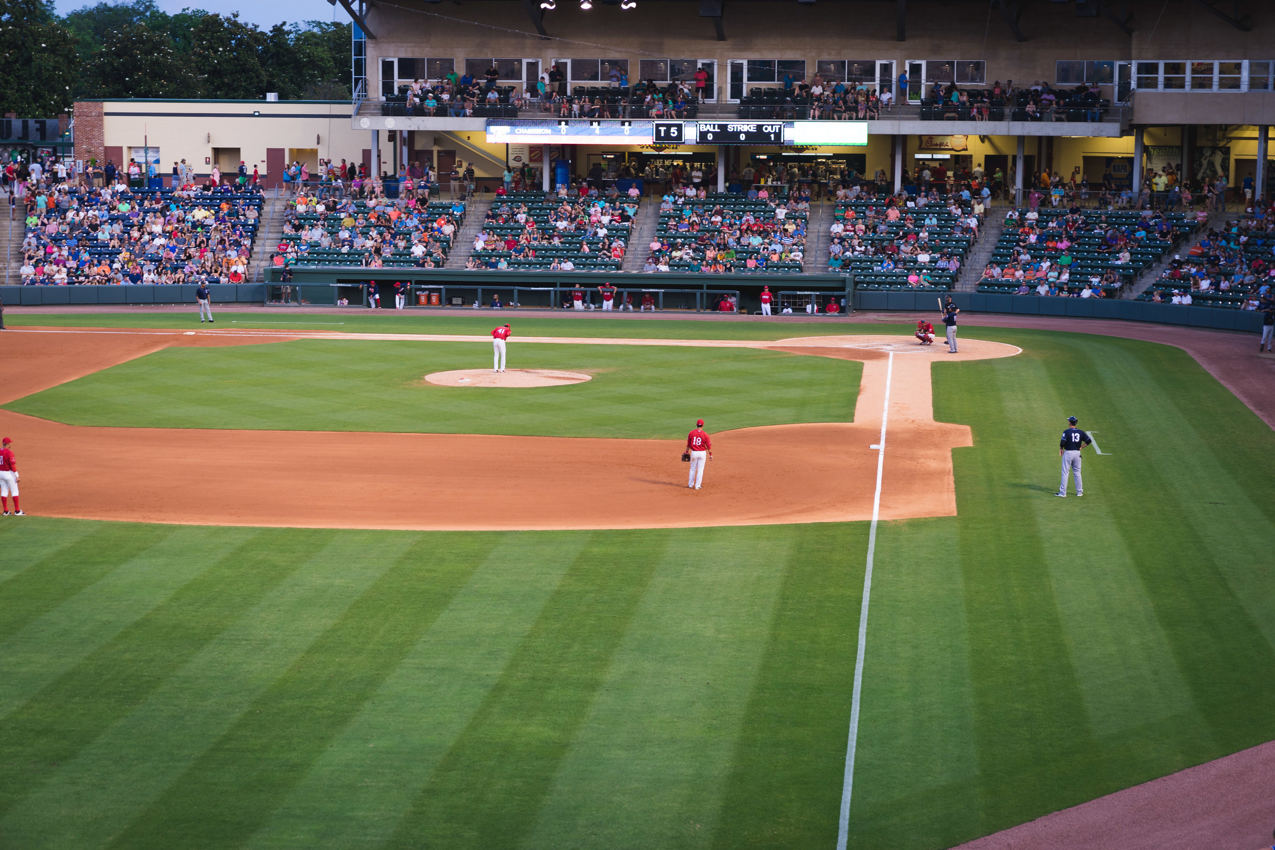 Flour Field Baseball Game in Downtown Greenville SC