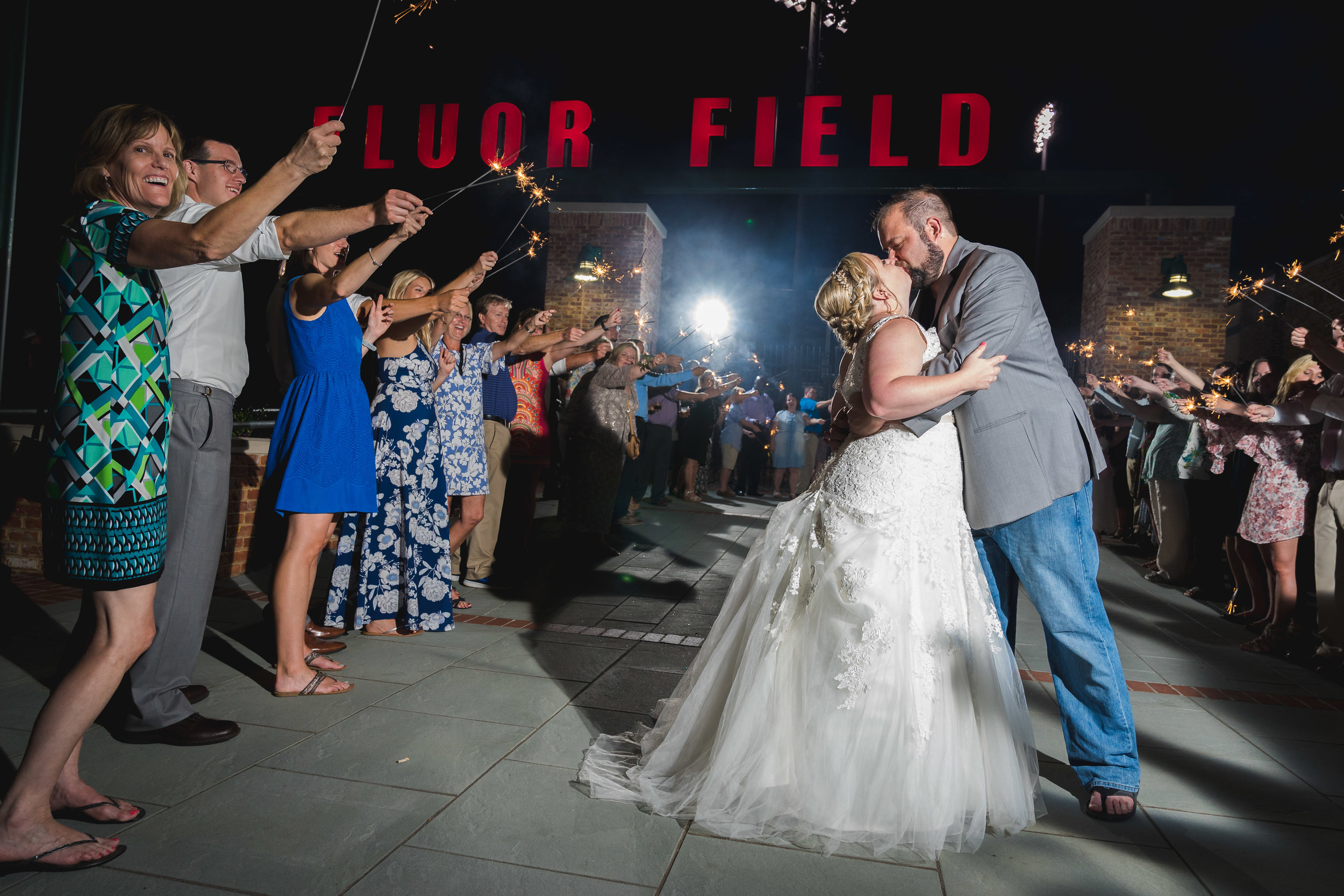 Sparkler exit 2 | Flour Field Wedding in Downtown Greenville, SC