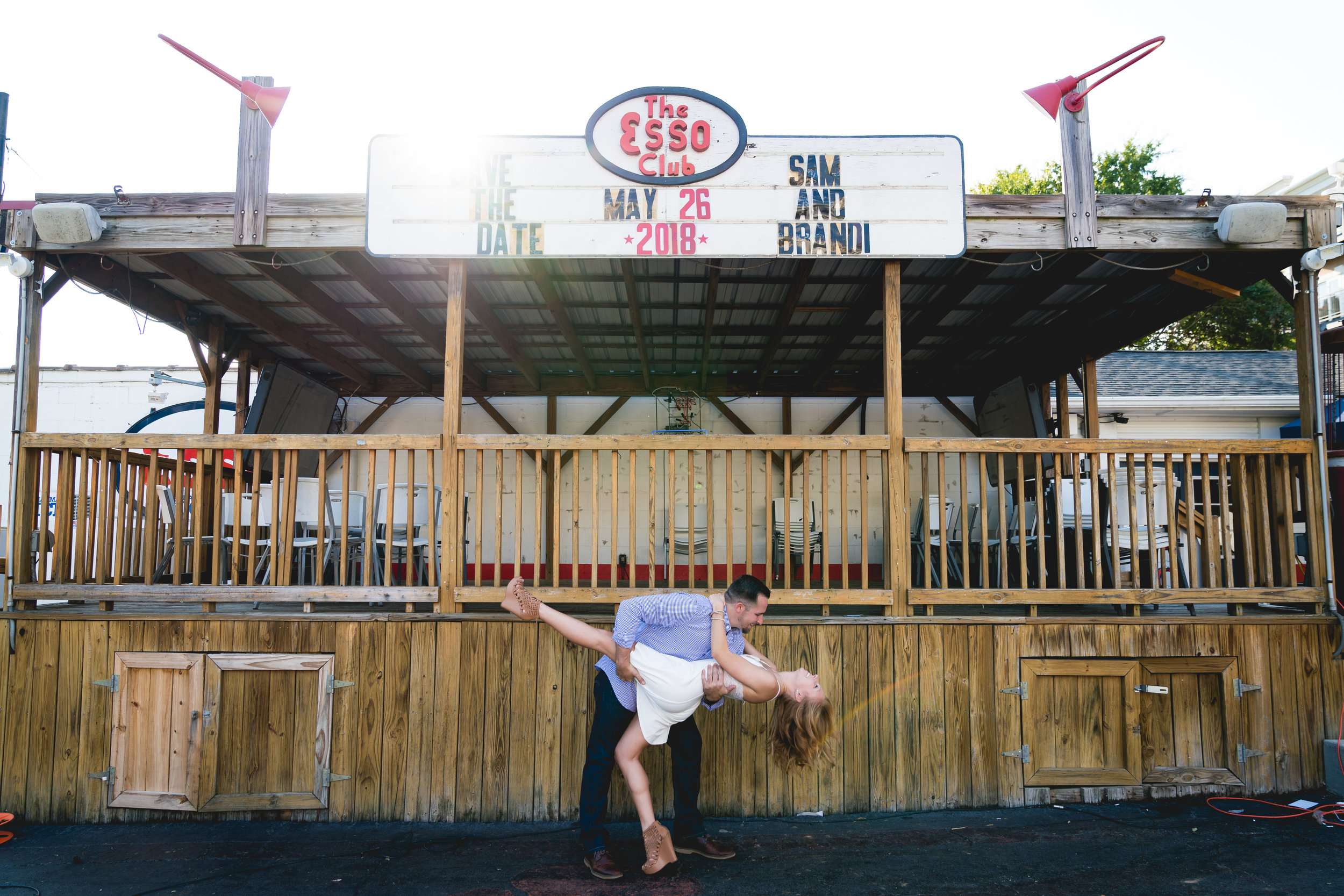 Couple in front of Esso Club | Engagement Session in Clemson SC