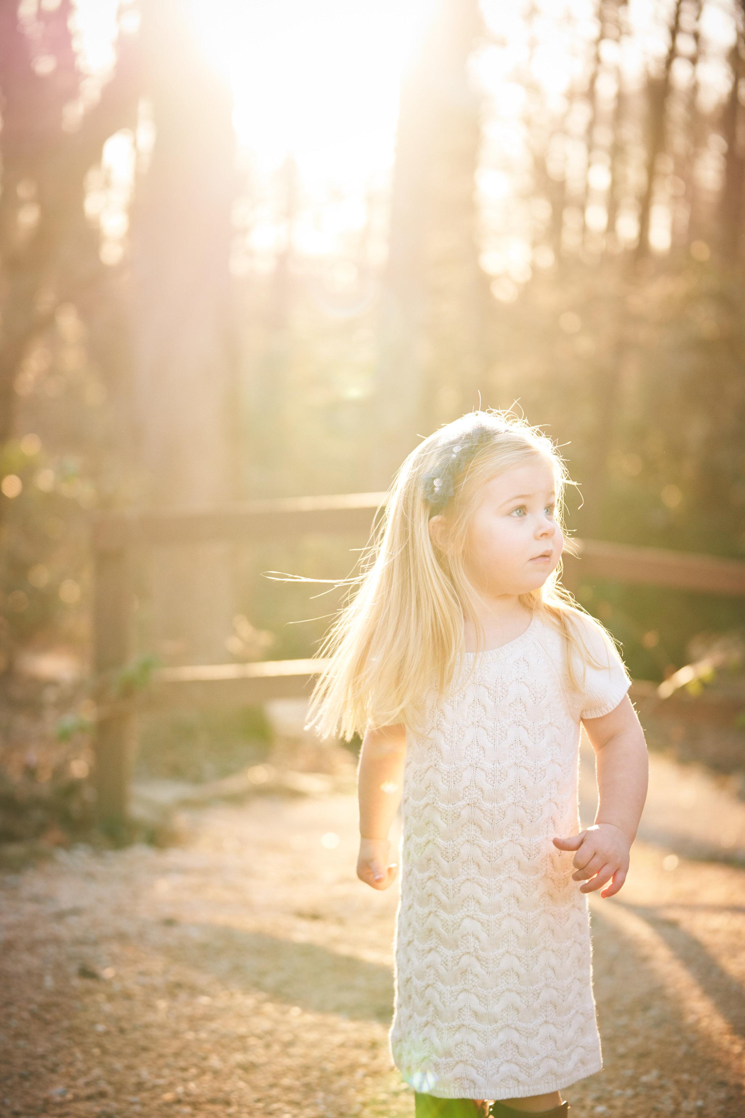 Little girl in the sun | Family Photo Session at the Clemson Botanical Gardens