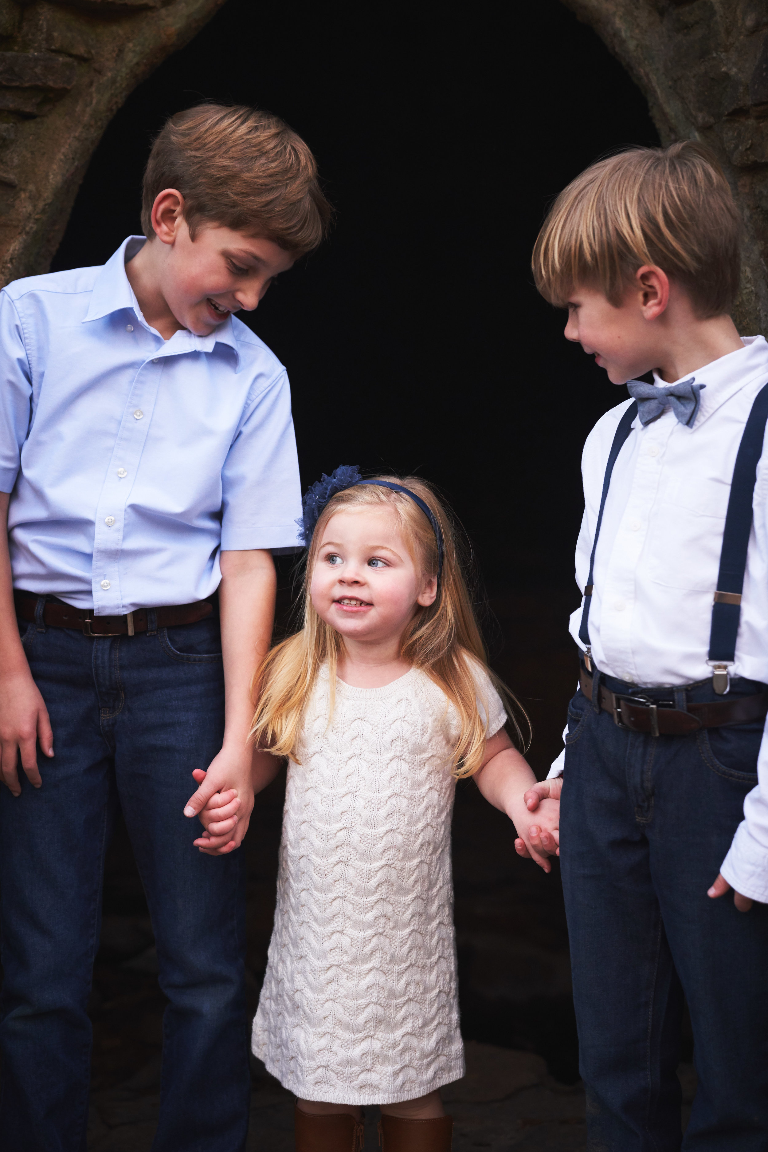 Siblings in the woods | Family Photo Session at the Clemson Botanical Gardens