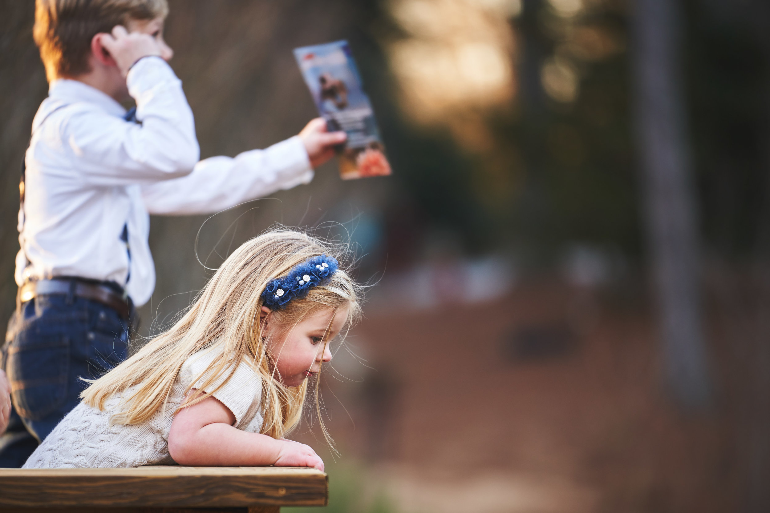 Watching the ducks | Family Photo Session at the Clemson Botanical Gardens