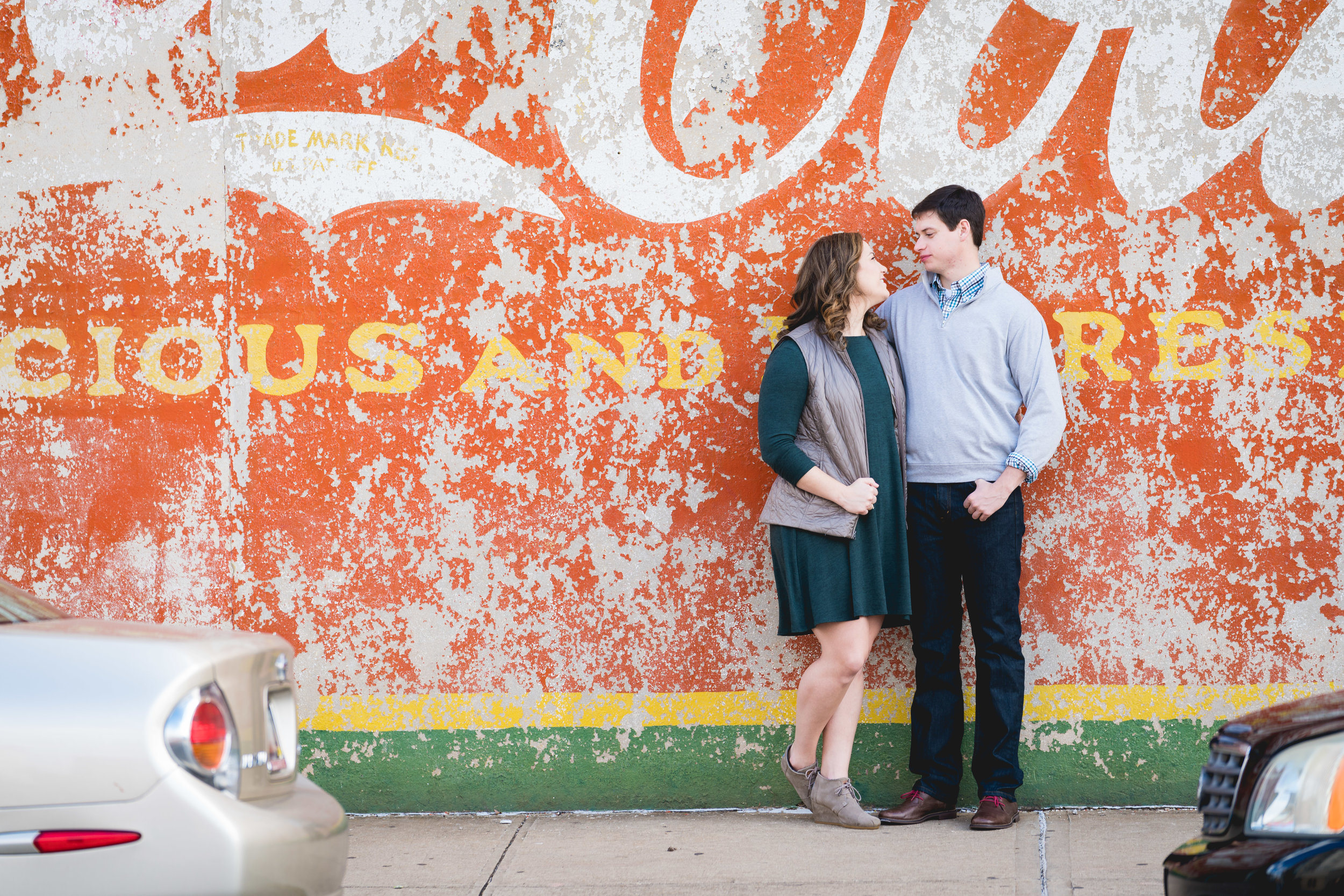 Couple & Coke | Engagement Session Downtown Greenville, SC