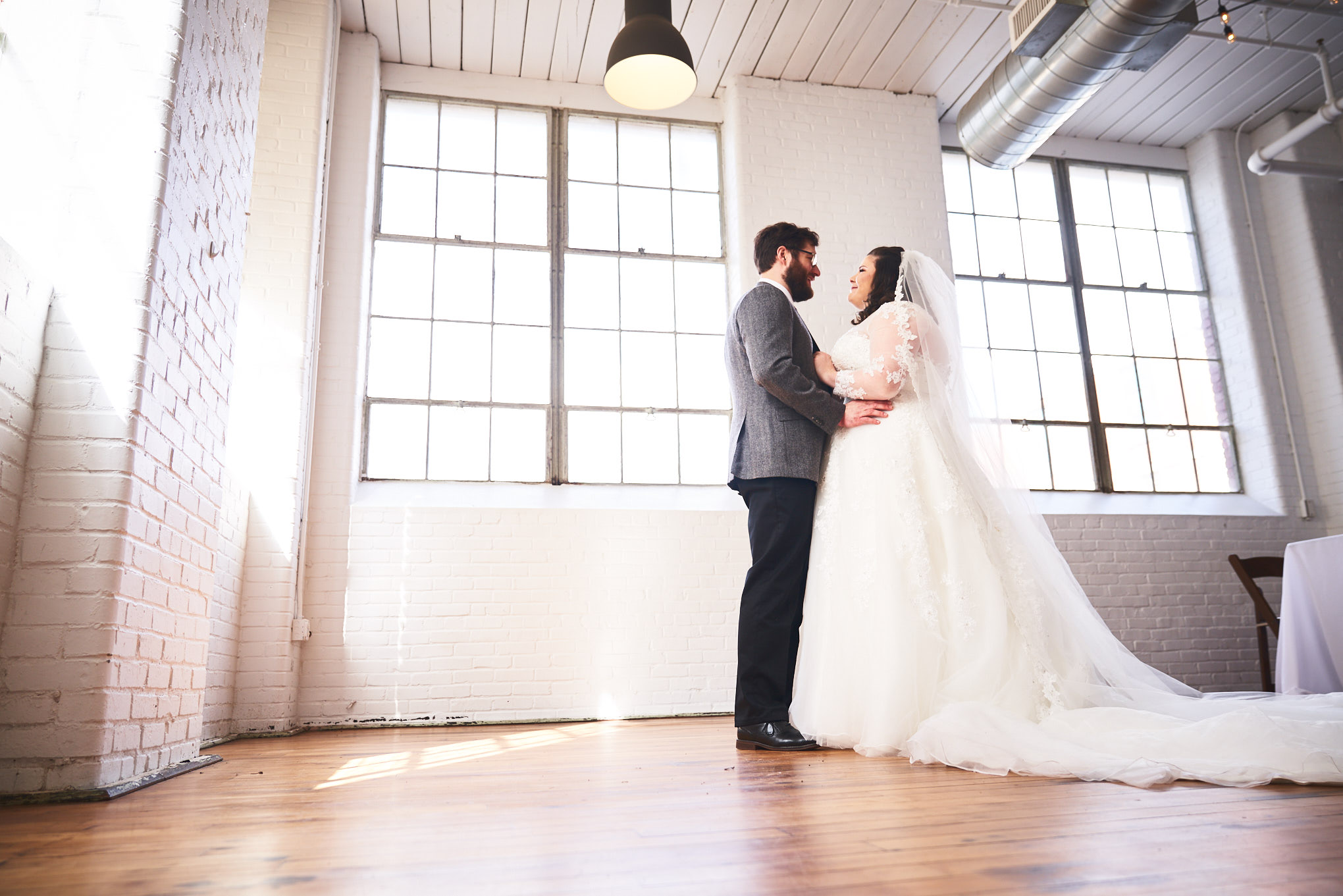 Bride and Groom First Look | Southern Bleachery in Taylors SC