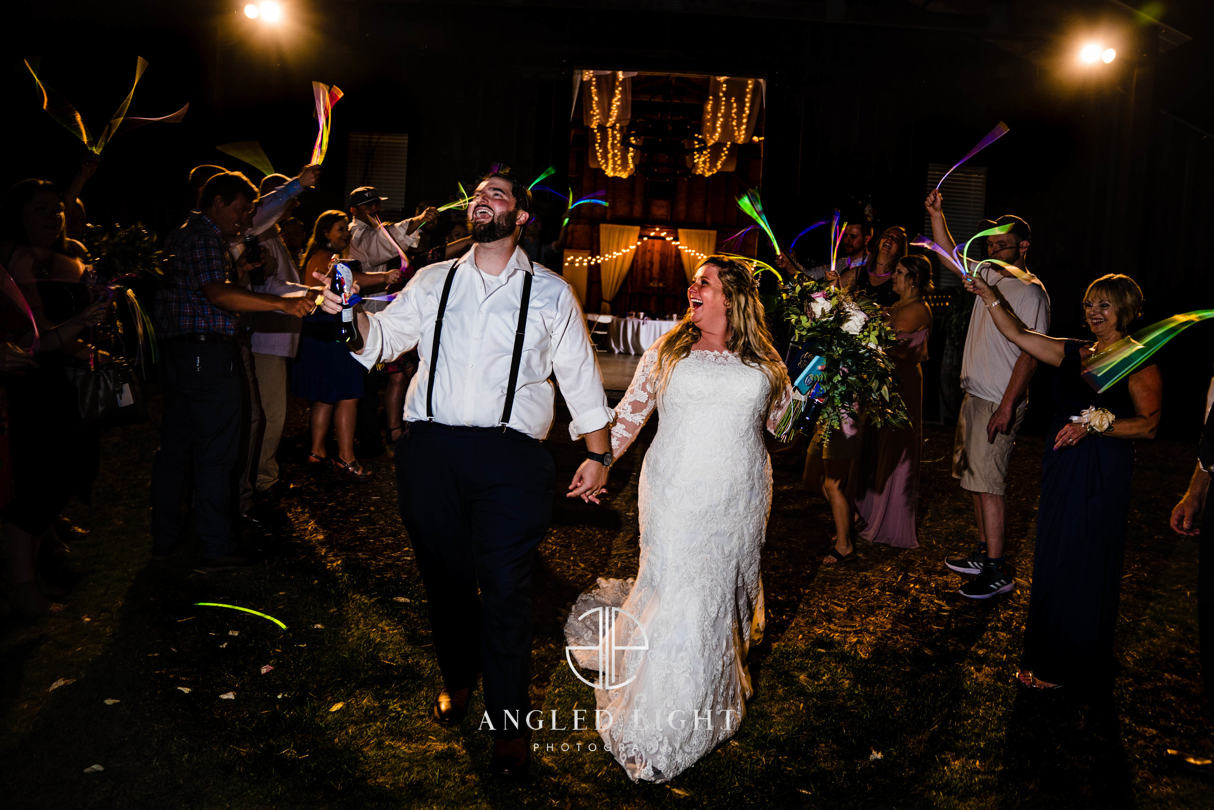 Bride and Groom leaving reception | The Barn at Greene Acres in Honea Path, SC