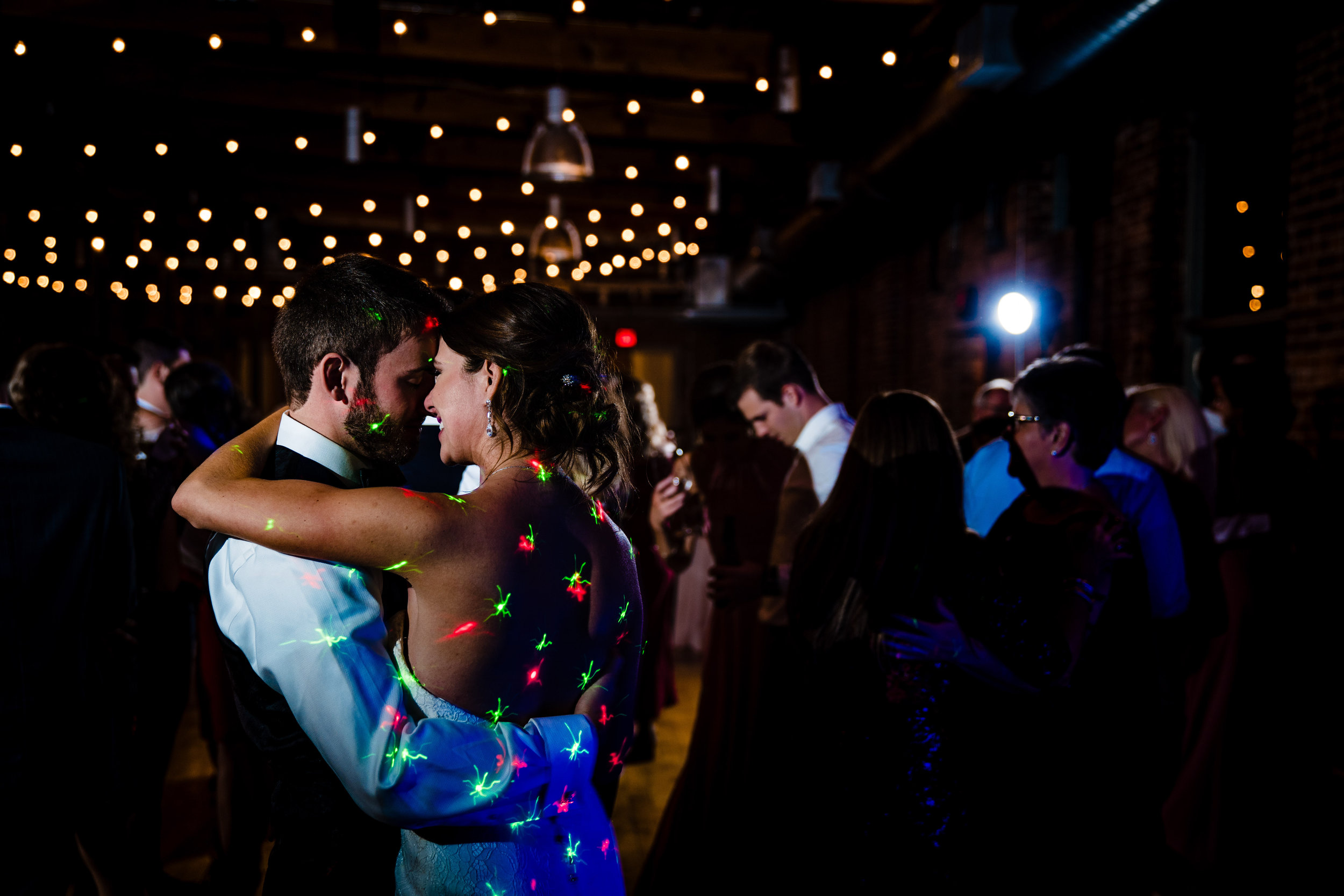 Bride and Groom Dancing in Huguenot Mill Wedding Downtown Greenville