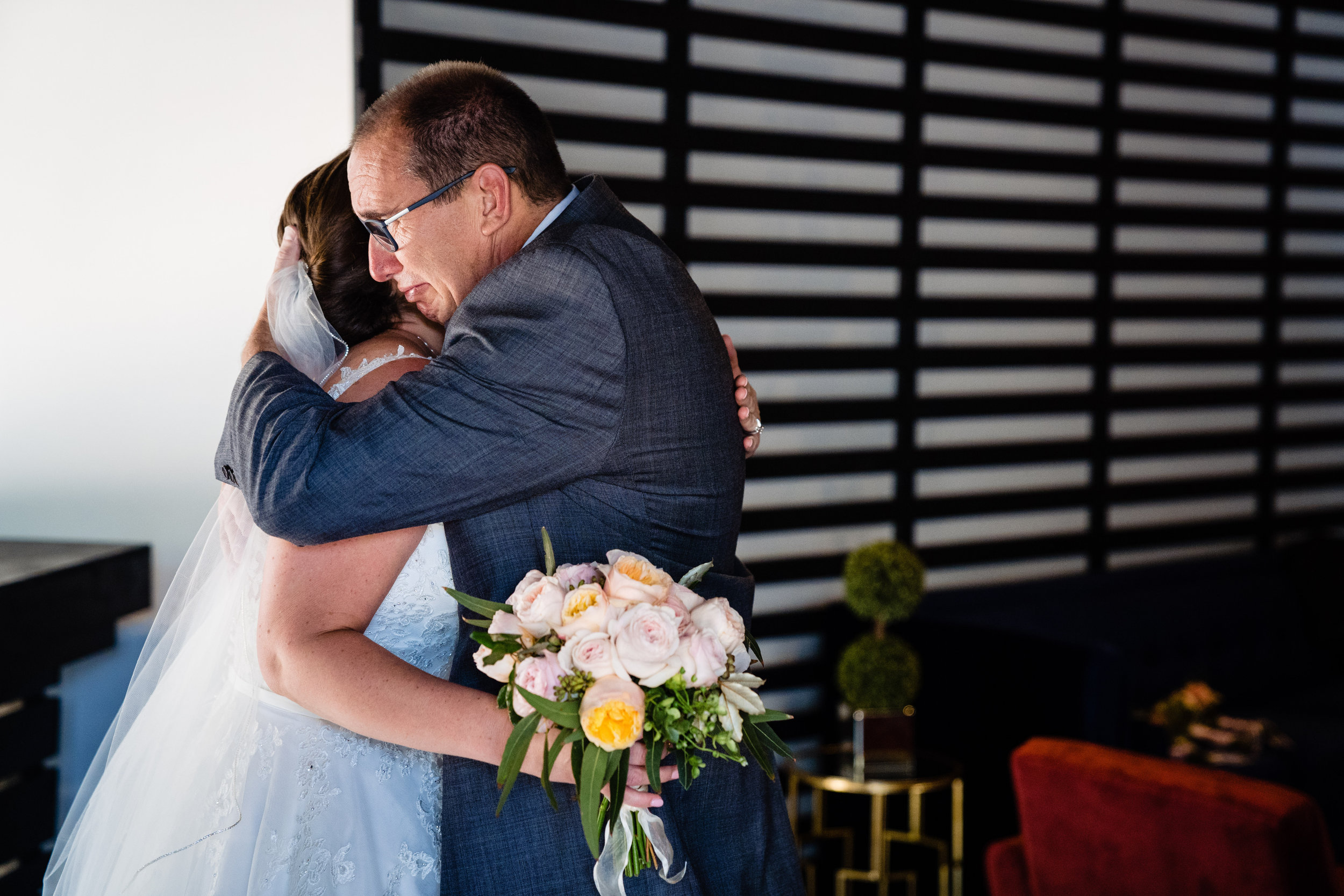Bride and Father Hug - Greenville SC Wedding