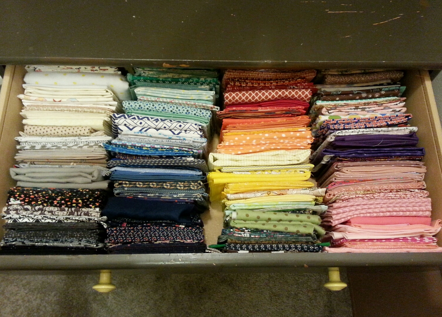 Fat quarters and smaller cuts of fabric.