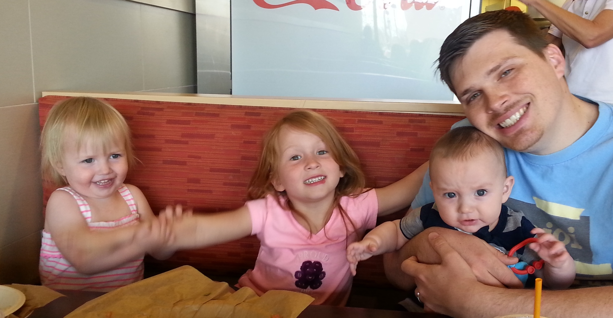 Lunch at Qudoba last week! M, Goose, Little Man, and Handsomepants