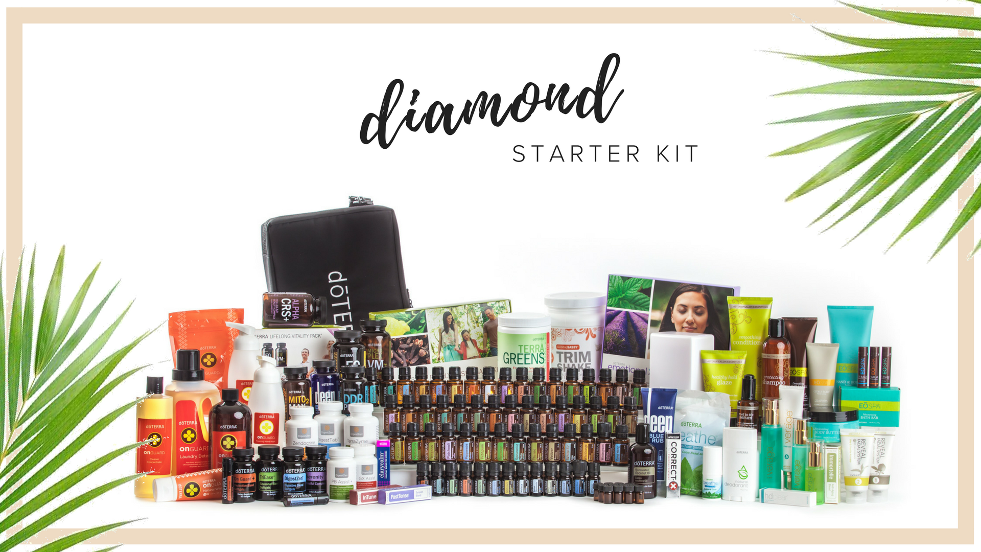 diamond KIt - $2,500  This is the Dream Kit. It comes with every oil and every product that doterra makes including the Emotional Aromatherapy Collection, the entire On Guard line to replace all your cleaning products, the lifelong vitality pack, all the supplements, everything to support nutrition and fitness, the Verage skincare system, our sulfate-free haircare line, all the bath and spa products, an 8 hour diffuser,and of course every single oil in a beautiful display case.  Retail Cost $3,333. Wholesale Kit Price $2,500. $800 in Savings plus you're eligible to receive an additional $400 in product credits when you place your 100 pv Loyalty Rewards order the following month and you jump on the Fast track at 25% rebate on loyalty orders.  all new memberships include Exclusive aila love welcome gifts, a personal consultation with maile, ongoing education opportunities & a support community.