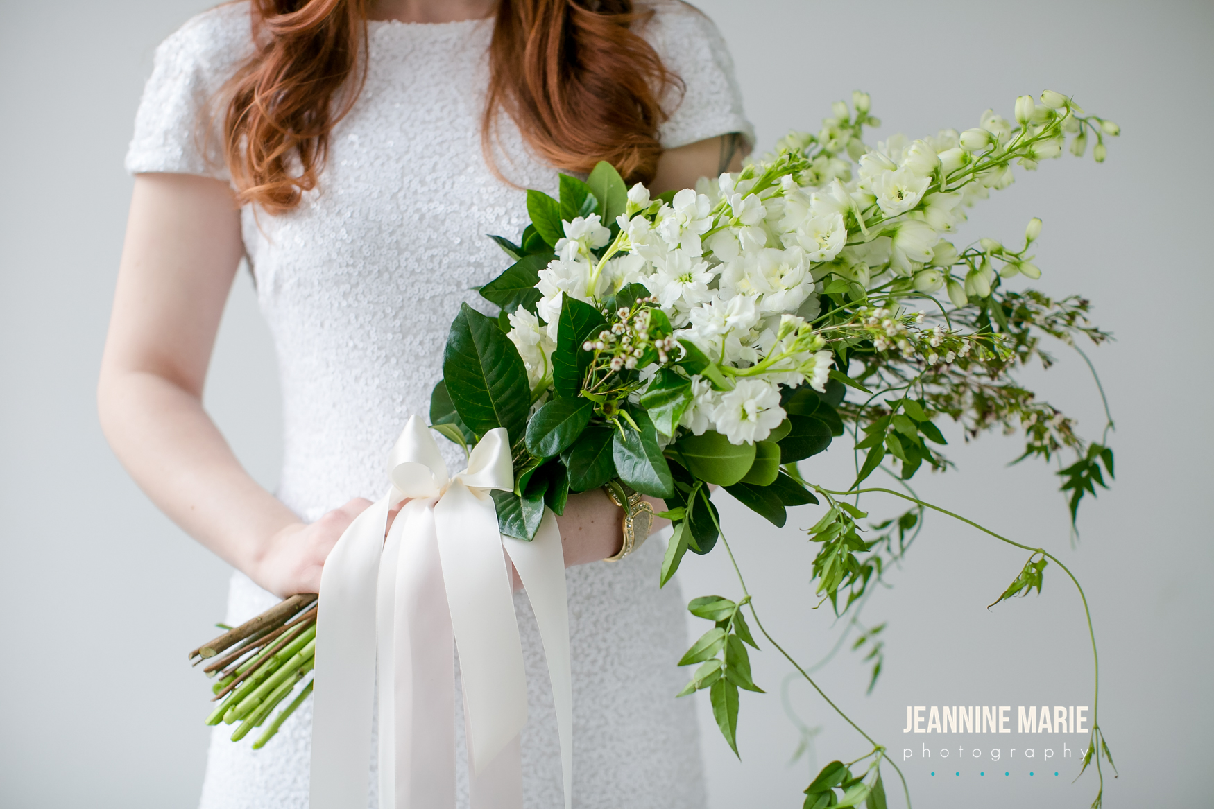 White and ivory, greenery bridal bouquet  Jessica Wonders Events, Minneapolis, MN