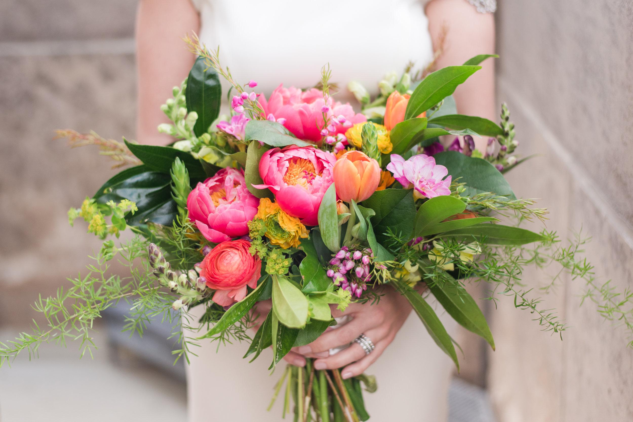 Hot pink, fuschia, orange, purple, yellow, tulips bridal bouquet,  Jessica Wonders Events, Minneapolis, MN