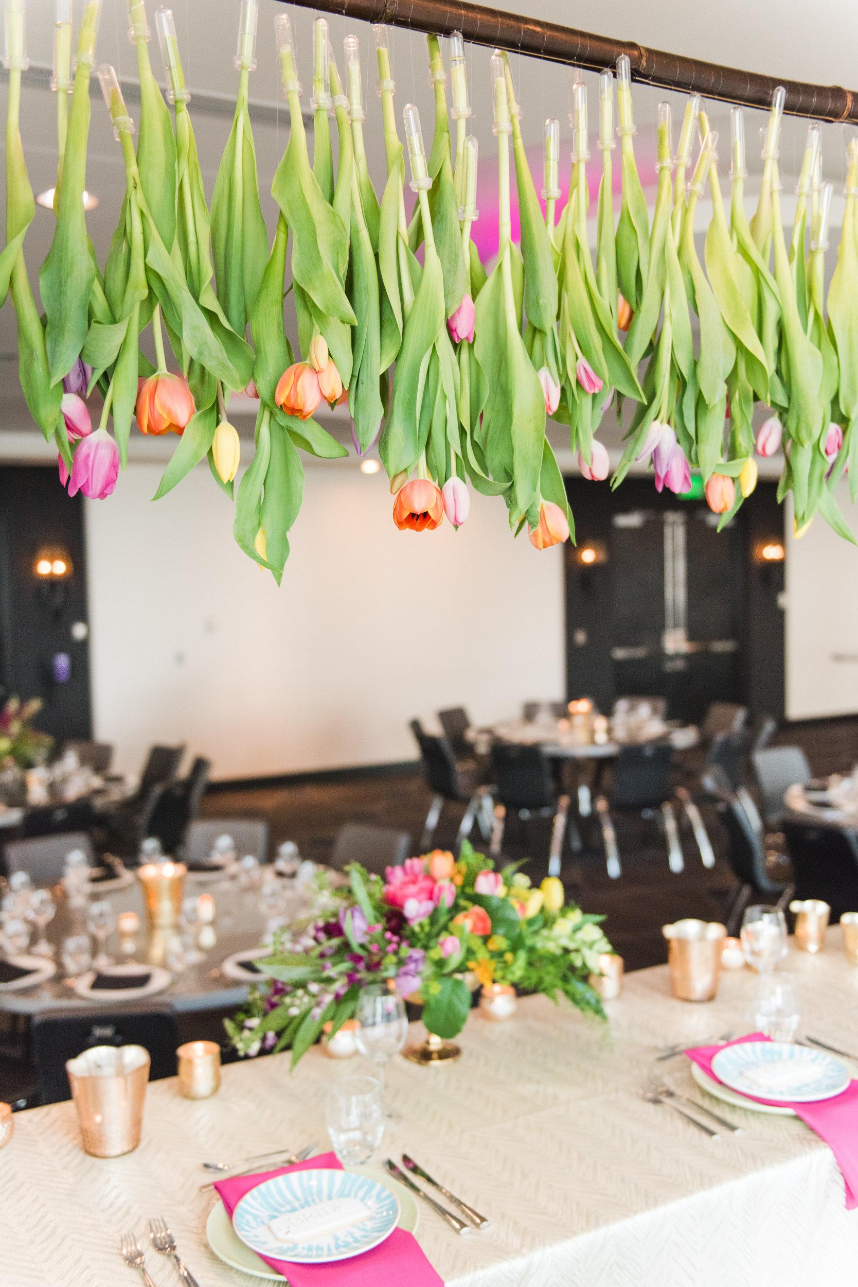 Hanging tulips, hanging flower installation  Jessica Wonders Events, Minneapolis, MN